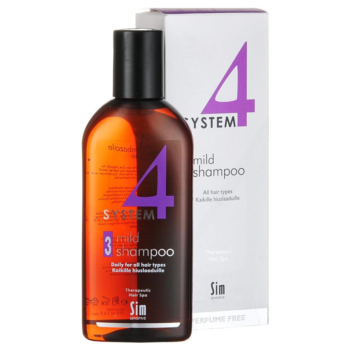 SIM SENSITIVE Терапевтический шампунь № 3 SYSTEM 4 Mild Climbazole Shampoo 3 , 215 млFS-00897КАК РАБОТАЕТ:шампунь рекомендуется для чувствительной кожи головы. Сали-циловая кислота мягко очищает, климбазол и пироктон оламинвосстанавливают микрофлору кожи головы. Гидрогенол снимаетраздражение, увлажняет и защищает волосы от воздействия уль-трафиолетовых лучей. Ментол и розмарин способствуют улучше-нию питания волосяного фолликула за счет своих стимулирующихи дезинфицирующих свойств. рН-4,7. Успокаивает кожу головыпосле окрашивания.БОРЕТСЯ С:раздражениемкожи головы и с элементами перхотис чувствительностью кожи головырецедивами после курса лечения волос и кожи головы