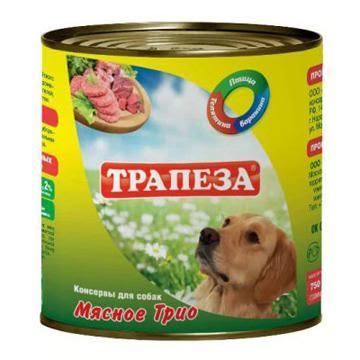Консервы для собак Трапеза Мясное трио, 750 г204256Консервы для собак Трапеза Мясное трио изготовлены из натурального российского мясного сырья. Не содержат сои, ароматизаторов, искусственных красителей, ГМО. Состав: баранина, говядина, мясо птицы, субпродукты, растительное масло, натуральная желеобразующая добавка, соль, вода. Пищевая ценность (100 г): протеин 10%, жир 5%, углеводы 4%, клетчатка 0,2%, зола 2%, влага 75%. Энергетическая ценность (на 100 г): 101 кКал. Товар сертифицирован.