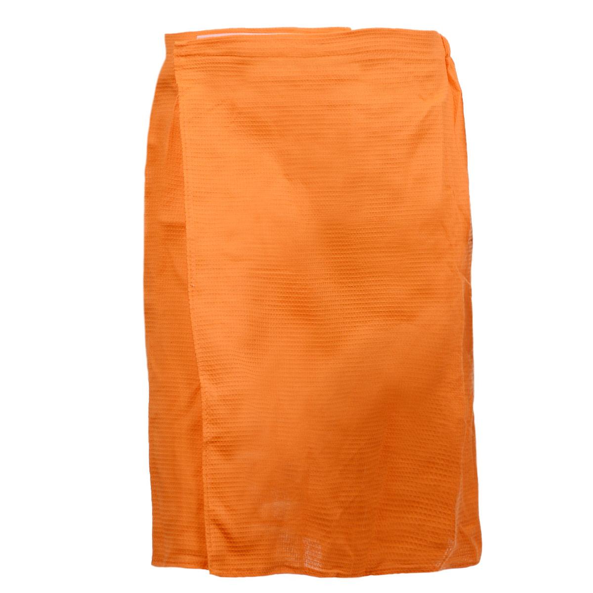 Килт для бани и сауны Банные штучки, мужской, цвет: оранжевый00007575Вафельный килт для бани и сауны Банные штучки, выполненный из натурального хлопка, привлечет внимание любителей модных тенденций в банной одежде.Килт - это многофункциональное полотенце специального покроя с резинкой и застежкой. В парилке можно лежать на нем, после душа вытираться, а во время отдыха использовать как удобную накидку.Длина килта: 60 см.Ширина килта: 145 см.Размер: 36-60.