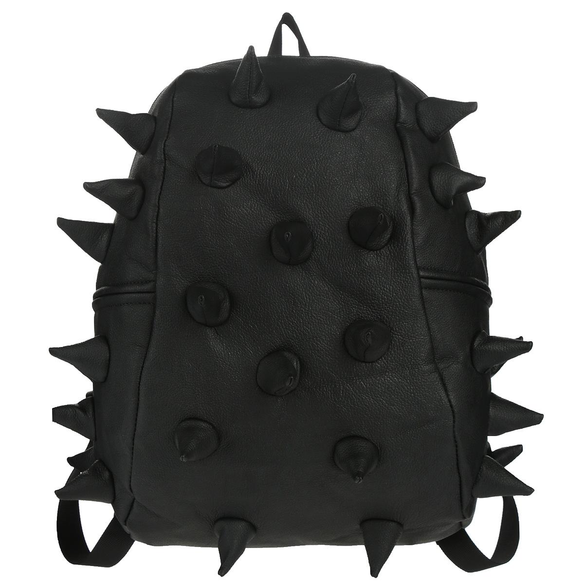 """Рюкзак городской MadPax Rex Half, цвет: черный, 16 лBP-303 BKГородской рюкзак MadPax Rex Half - это стильный и практичный аксессуар, который станет незаменимым в ритме большого города. Верх рюкзака выполнен из 100% полиуретана, шипы придают изделию неповторимый дизайн. Подкладка изготовлена из нейлона. Рюкзак имеет одно основное отделение на застежке-молнии. Внутрь поместится ноутбук с диагональю экрана 13"""", iPad или бумаги формата А4. Также внутри содержится небольшой карман на молнии для мелких вещей. Модель оснащена ручкой для переноски в руке, а также широкими плечевыми лямками, которые можно регулировать по длине. Мягкая ортопедическая спинка создает дополнительный комфорт вашей спине и делает ношение рюкзака более удобным. Сзади расположен кармашек из прозрачного ПВХ для визитки. MadPax - это крутые рюкзаки в стиле фанк, которые своим неповторимым дизайном бросают вызов монотонности и скуке. Эти уникальные рюкзаки помогают детям всех возрастов самовыражаться, а их внутренняя структура с отделениями, карманами и застежками-молниями делает их невероятно практичными."""