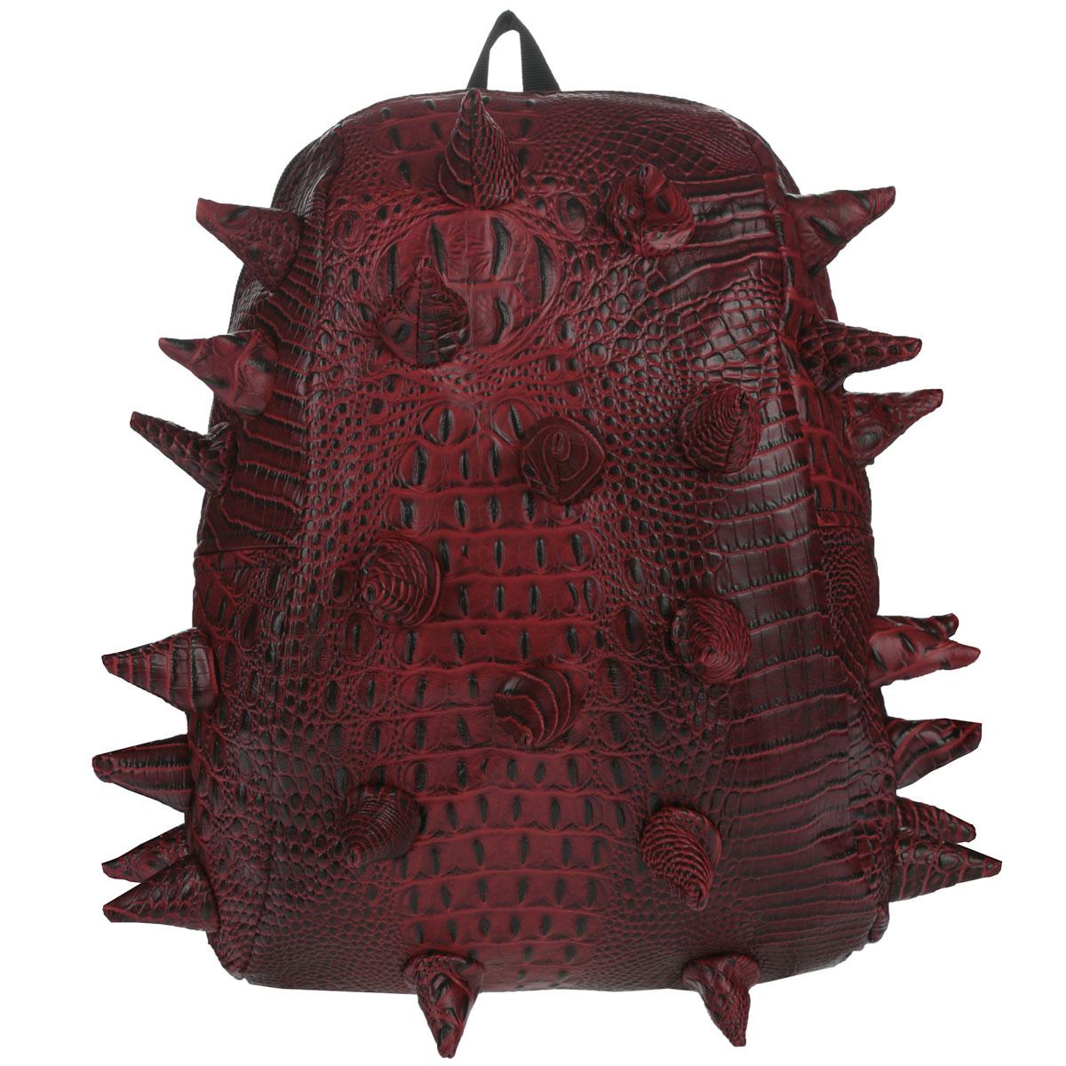"""Рюкзак городской MadPax Gator Half, цвет: красный, 16 лRivaCase 8460 aquamarineГородской рюкзак MadPax Gator Half - это стильный и практичный аксессуар, уместный в ритме большого города. Верх рюкзака выполнен из 100% поливинила с тиснением под рептилию, шипы придают изделию неповторимый дизайн. Подкладка изготовлена из нейлона. Рюкзак имеет одно основное отделение, которое закрывается на застежку-молнию. Внутри поместится ноутбук с диагональю 13"""", iPad и бумаги формата А4. Также внутри содержится небольшой карман на молнии для мелких вещей. Модель оснащена ручкой для переноски в руке, а также мягкими и широкими плечевыми лямками, которые можно регулировать по длине. Полностью вентилируемая ортопедическая спинка создает дополнительный комфорт вашей спине. Сзади расположен кармашек из прозрачного ПВХ для визитки. MadPax - это крутые рюкзаки в стиле фанк, которые своим неповторимым дизайном бросают вызов монотонности и скуке. Эти уникальные рюкзаки помогают детям всех возрастов самовыражаться, а их внутренняя структура с отделениями, карманами и застежками-молниями делает их невероятно практичными. Материал: поливинил, нейлон, пластик, металл."""