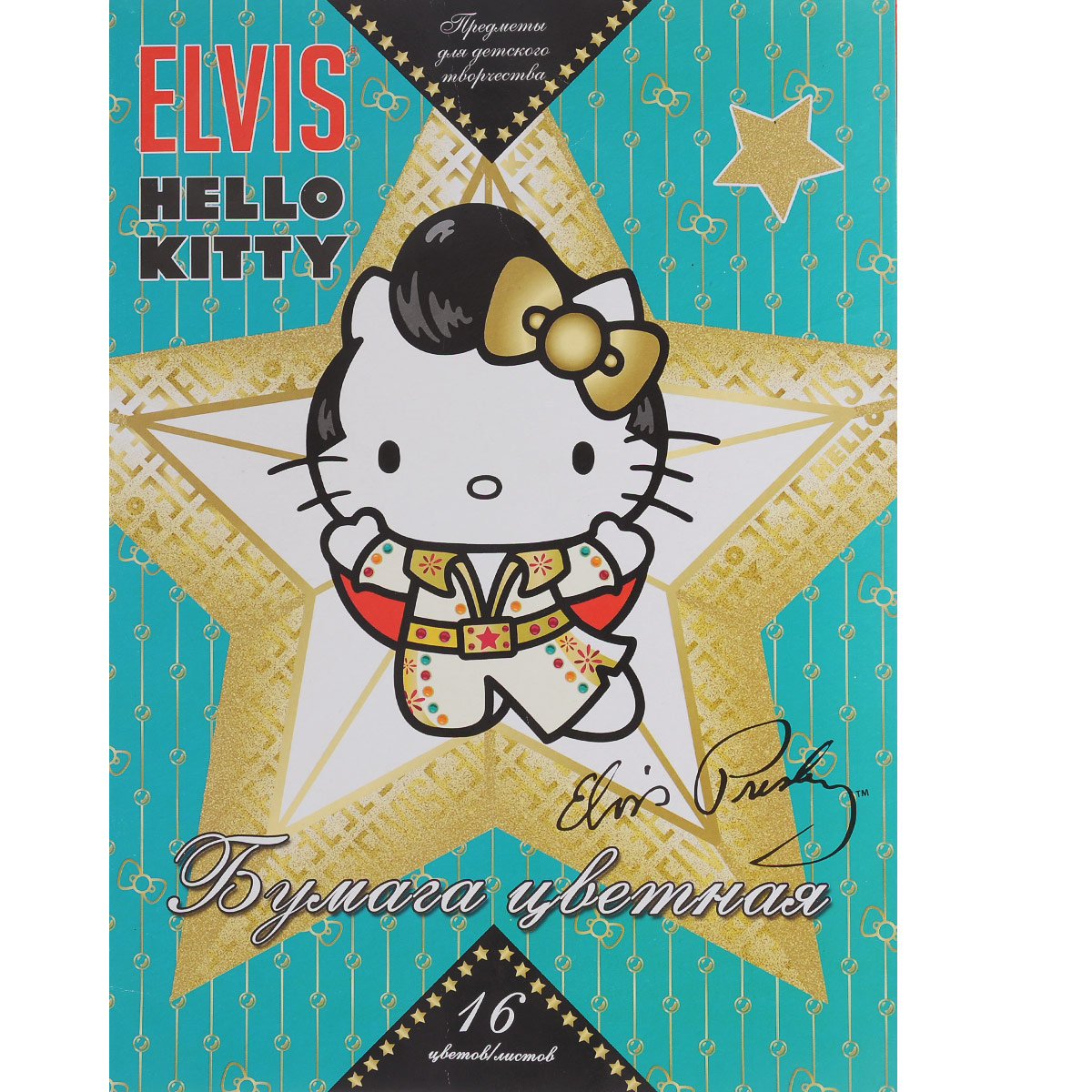 Цветная бумага Hello Kitty. Elvis, 16 цветов. HK31_бирюзовыйSW-CTP-10/10Цветная бумага Hello Kitty. Elvis позволит вашему ребенку создавать всевозможные аппликации и поделки.Набор состоит из 16 листов, скрепленных скобами. Обложка изготовлена из плотного картона с изображением Hello Kitty.Создание поделок из цветной бумаги поможет ребенку в развитии творческих способностей, кроме того, это увлекательный досуг.