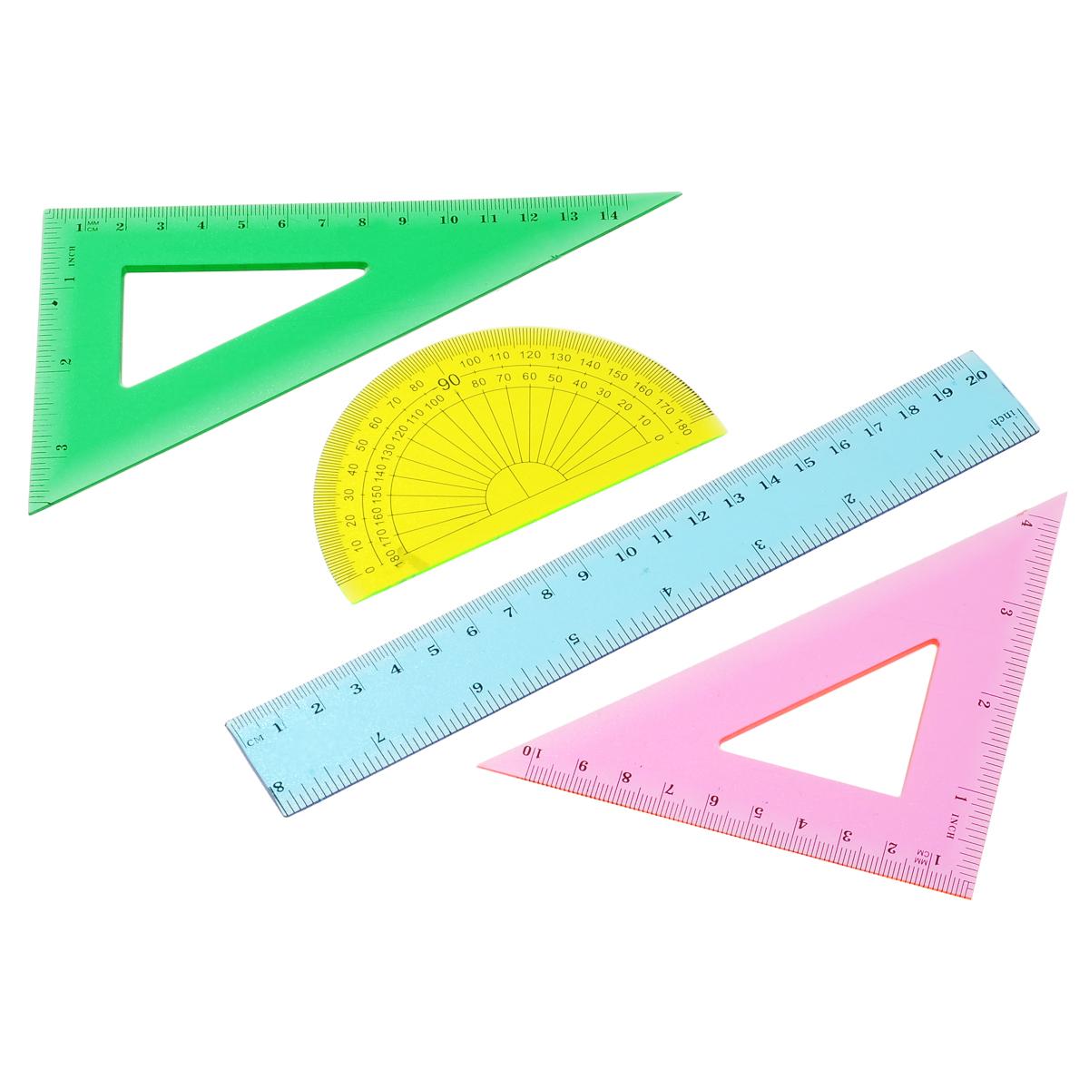Геометрический набор Proff, выполненный из прозрачного пластика можно носить повсюду.Набор состоит из четырех предметов: линейки на 20 сантиметров, транспортира на 180 градусов и двух угольников. Один угольник с углами 45, 45, 90 градусов, одна сторона угольника представляет собой линейку на 15 сантиметров. Второй угольник с углами 30, 60, 90 градусов и линейкой на 11 сантиметров. Разметка шкалы нанесена на внутреннюю поверхность чертежных принадлежностей, что предотвращает ее истирание.  Каждый чертежный инструмент имеет свои функциональные особенности, что делает работу с ними особенно удобной и легкой. УВАЖАЕМЫЕ КЛИЕНТЫ! Обращаем ваше внимание на ассортимент в цветовом дизайне товара. Поставка осуществляется в зависимости от наличия на складе.