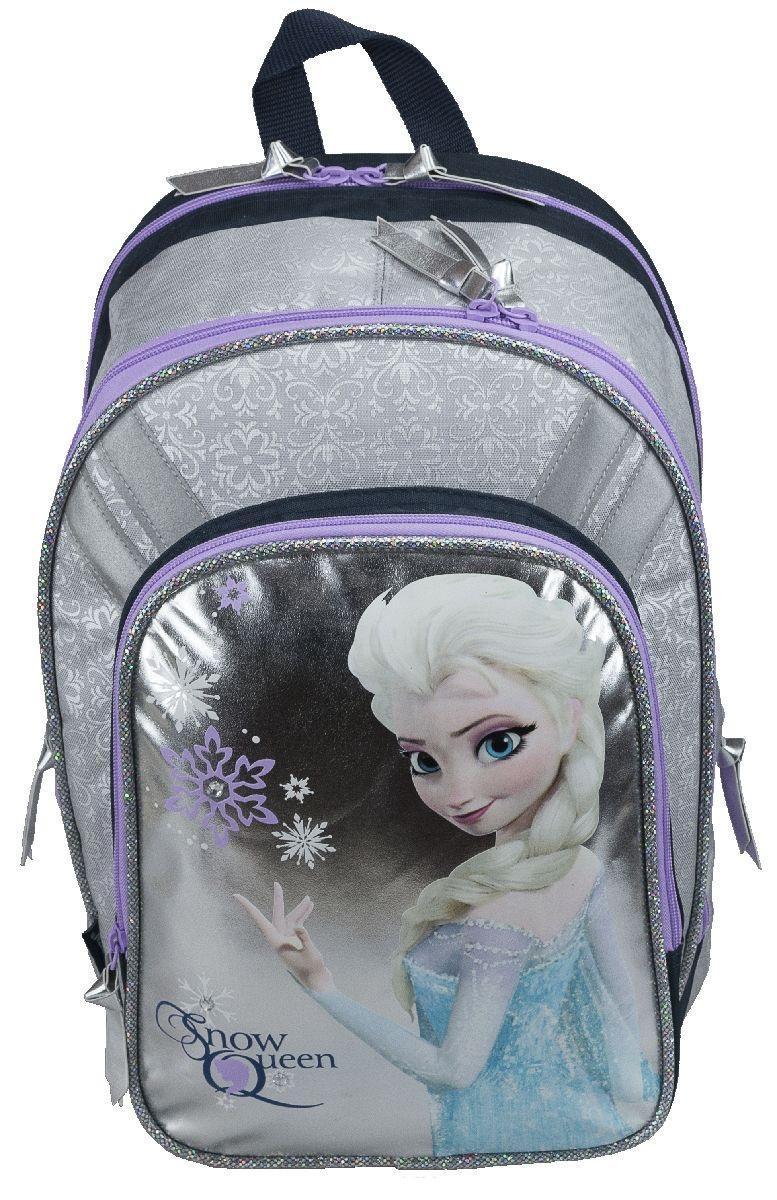 Рюкзак школьный Disney Frozen Snow Queen, цвет: серебристый, фиолетовый. FZCB-UT1-73172523WDШкольный рюкзак Disney Frozen Snow Queen обязательно понравится вашей школьнице. Выполнен из прочных и высококачественных материалов, дополнен изображением героини мультфильма Холодное сердце.Содержит два вместительных отделения, закрывающиеся на застежки-молнии с двумя бегунками. В большом отделении находится перегородка для тетрадей или учебников. Лицевая сторона рюкзака оснащена накладным карманом на застежке-молнии, внутри которого расположены три открытых кармашка для мелких предметов. По бокам расположены два прорезных отделения на молнии, в которых компактно убраны карманы-сетка. Конструкция спинки дополнена эргономичными подушечками, противоскользящей сеточкой и системой вентиляции для предотвращения запотевания спины ребенка. Мягкие широкие лямки позволяют легко и быстро отрегулировать рюкзак в соответствии с ростом. Рюкзак оснащен текстильной ручкой для удобной переноски в руке. Светоотражающие элементы обеспечивают безопасность в темное время суток.Многофункциональный школьный рюкзак станет незаменимым спутником вашего ребенка в походах за знаниями.Вес рюкзака без наполнения: 900 г.Рекомендуемый возраст: от 12 лет.