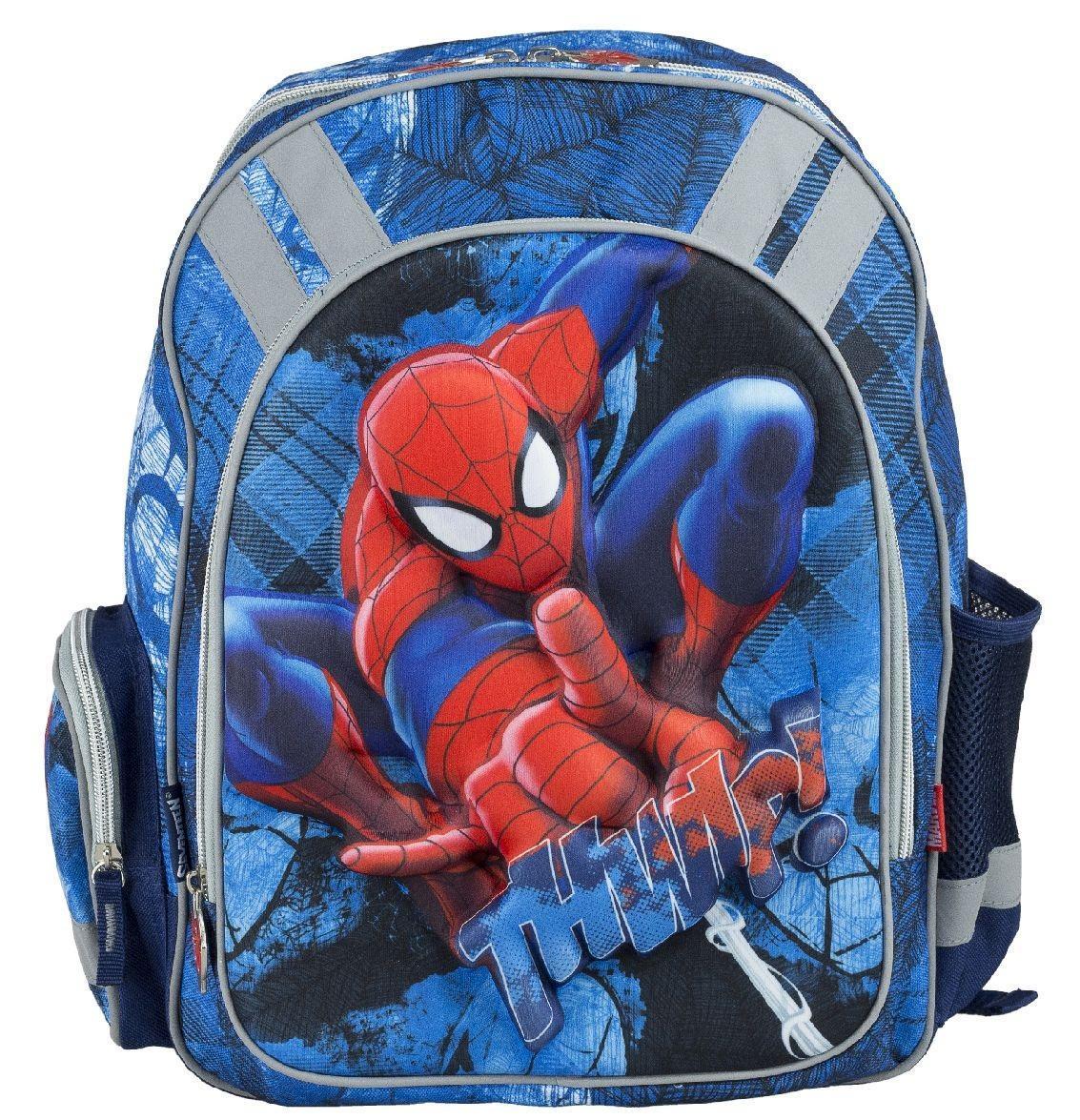 Рюкзак школьный Spider-Man, цвет: темно-синий, голубой. SMCB-RT2-836E72523WDРюкзак школьный Spider-Man обязательно понравится вашему школьнику. Выполнен из прочных и высококачественных материалов, дополнен объемным и реалистичным изображением Человека-паука.Содержит одно вместительное отделение, закрывающееся на застежку-молнию с двумя бегунками. Бегунки застежки оформлены металлическими держателями в виде паука. Внутри отделения находятся две перегородки для тетрадей или учебников, а также открытый карман-сетка. Дно рюкзака можно сделать жестким, разложив специальную панель с пластиковой вставкой, что повышает сохранность содержимого рюкзака и способствует правильному распределению нагрузки. Лицевая сторона оснащена накладным карманом на молнии. По бокам расположены два накладных кармана: на застежке-молнии и открытый, стянутый сверху резинкой. Специально разработанная архитектура спинки со стабилизирующими набивными элементами повторяет естественный изгиб позвоночника. Набивные элементы обеспечивают вентиляцию спины ребенка. Плечевые лямки анатомической формы равномерно распределяют нагрузку на плечевую и воротниковую зоны. Конструкция пряжки лямок позволяет отрегулировать рюкзак по фигуре. Рюкзак оснащен эргономичной ручкой для удобной переноски в руке. Светоотражающие элементы обеспечивают безопасность в темное время суток.Многофункциональный школьный рюкзак станет незаменимым спутником вашего ребенка в походах за знаниями.Вес рюкзака без наполнения: 700 г.Рекомендуемый возраст: от 7 лет.