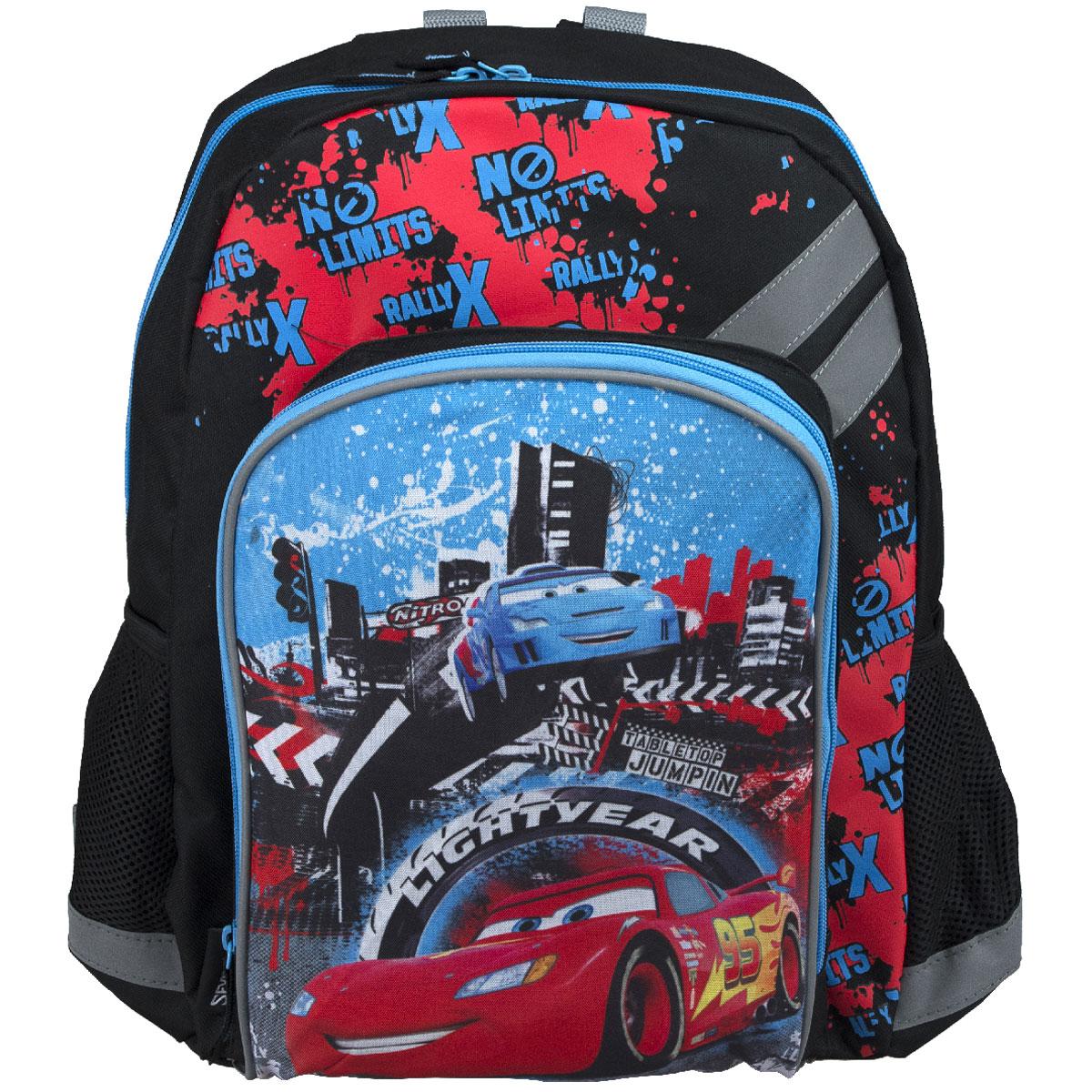 Рюкзак школьный Cars, цвет: черный, голубой, красный. CRCB-MT1-988MPLCB-MT1-114Рюкзак школьный Cars обязательно привлечет внимание вашего школьника. Выполнен из прочных и высококачественных материалов, дополнен изображением героев из мультфильма Тачки.Содержит одно вместительное отделение, закрывающееся на застежку-молнию с двумя бегунками. Внутри отделения находятся две перегородки для тетрадей или учебников, фиксирующиеся резинкой. Дно рюкзака можно сделать жестким, разложив специальную панель с пластиковой вставкой, что повышает сохранность содержимого рюкзака и способствует правильному распределению нагрузки. Лицевая сторона оснащена накладным карманом на молнии. По бокам расположены два накладных кармана-сетка. Конструкция спинки дополнена противоскользящей сеточкой и системой вентиляции для предотвращения запотевания спины ребенка. Мягкие широкие лямки S-образной позволяют легко и быстро отрегулировать рюкзак в соответствии с ростом. Рюкзак оснащен текстильной ручкой для удобной переноски в руке. Светоотражающие элементы обеспечивают безопасность в темное время суток.Такой школьный рюкзак станет незаменимым спутником вашего ребенка в походах за знаниями.Вес рюкзака без наполнения: 550 г.Рекомендуемый возраст: от 12 лет.