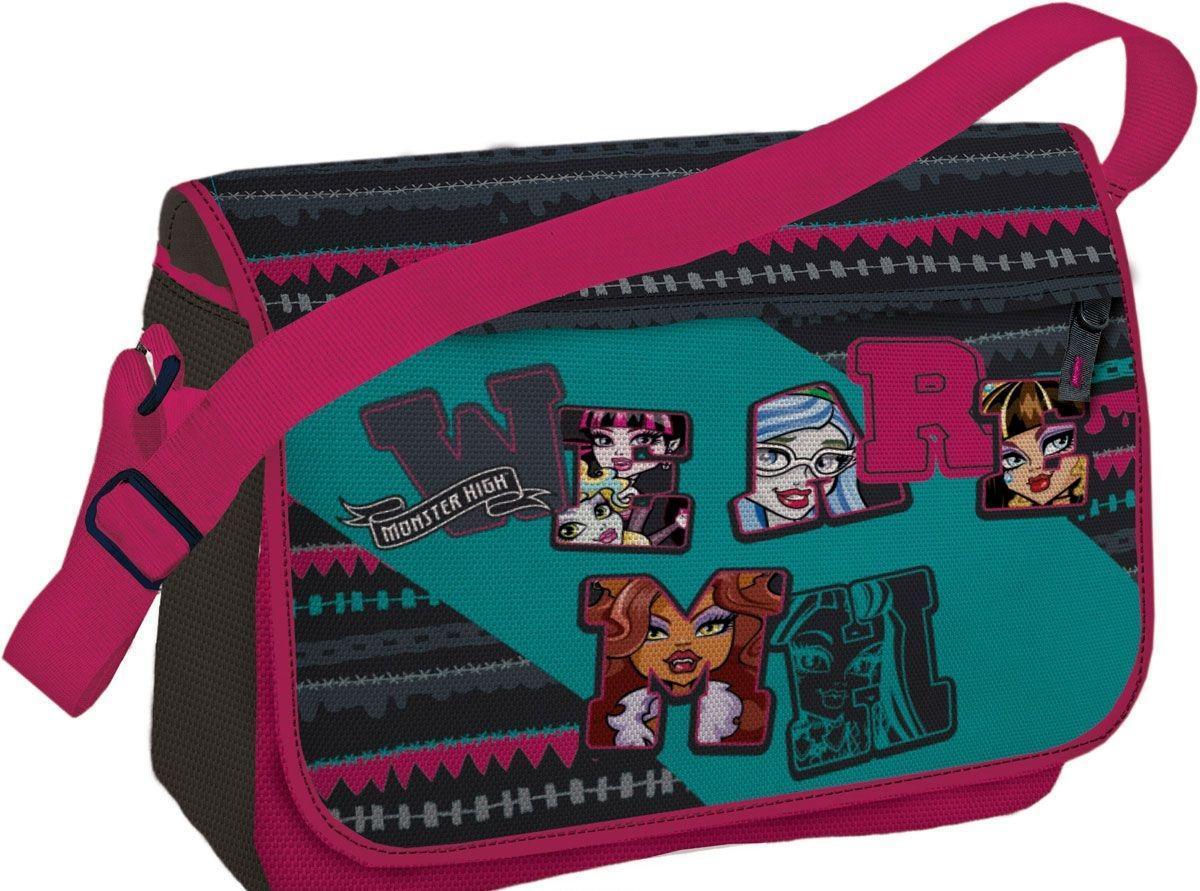 Сумка Monster High Размер 24 х 33 х 12 см72523WDСумка на лямке с одним отделением на молнии, с крышкой-клапаном на липучке. Дополнительные карманы на внутренней стороне крышки и задней стенке сумки, внутренний карман для мелочей.