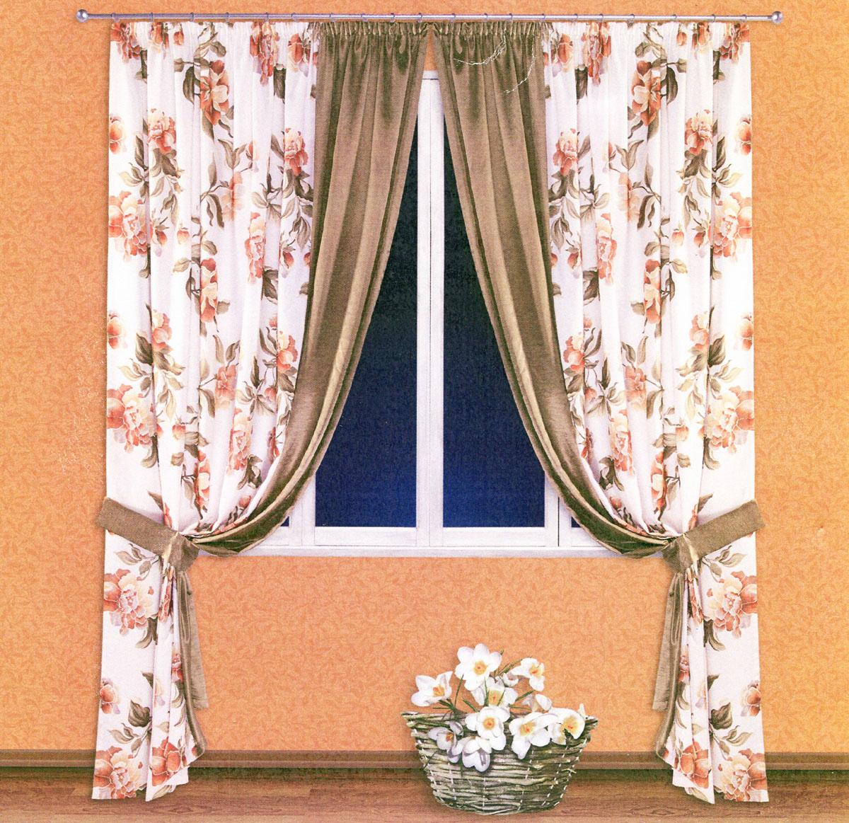 Комплект штор Zlata Korunka, на ленте, цвет: белый, оливковый, высота 250 см. 5552288829Роскошный комплект штор Zlata Korunka, выполненный из сатина и шанзализе (100% полиэстера), великолепно украсит любое окно. Комплект состоит из двух портьер и двух подхватов. Плотная ткань, цветочный принт и приятная, приглушенная гамма привлекут к себе внимание и органично впишутся в интерьер помещения. Комплект крепится на карниз при помощи шторной ленты, которая поможет красиво и равномерно задрапировать верх. Портьеры можно зафиксировать в одном положении с помощью двух подхватов. Этот комплект будет долгое время радовать вас и вашу семью! В комплект входит: Портьера: 2 шт. Размер (ШхВ): 200 см х 250 см. Подхват: 2 шт. Размер (ШхВ): 60 см х 10 см.