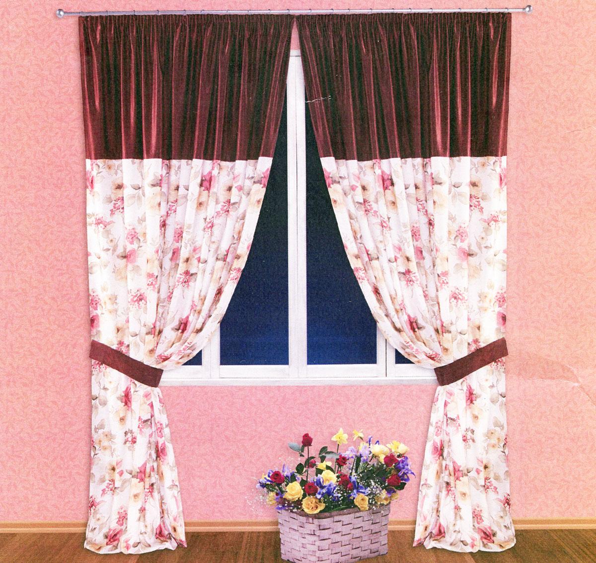 Комплект штор Zlata Korunka, на ленте, цвет: бордовый, высота 250 см. 55521219000/170Роскошный комплект тюлевых штор Zlata Korunka, выполненный из сатина (100% полиэстера), великолепно украсит любое окно. Комплект состоит из двух портьер и двух подхватов. Плотная ткань, цветочный принт и приятная, приглушенная гамма привлекут к себе внимание и органично впишутся в интерьер помещения. Комплект крепится на карниз при помощи шторной ленты, которая поможет красиво и равномерно задрапировать верх. Портьеры можно зафиксировать в одном положении с помощью двух подхватов. Этот комплект будет долгое время радовать вас и вашу семью! В комплект входит: Портьера: 2 шт. Размер (ШхВ): 200 см х 250 см. Подхват: 2 шт. Размер (ШхВ): 60 см х 10 см.