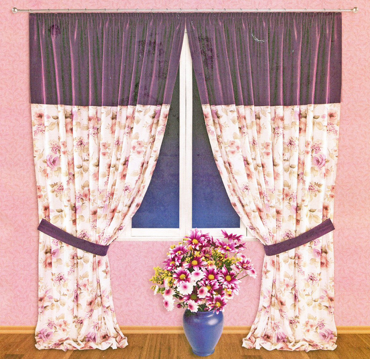 Комплект штор Zlata Korunka, на ленте, цвет: фиолетовый, высота 250 см. 5552010257Роскошный комплект тюлевых штор Zlata Korunka, выполненный из сатина (100% полиэстера), великолепно украсит любое окно. Комплект состоит из двух портьер и двух подхватов. Плотная ткань, цветочный принт и приятная, приглушенная гамма привлекут к себе внимание и органично впишутся в интерьер помещения. Комплект крепится на карниз при помощи шторной ленты, которая поможет красиво и равномерно задрапировать верх. Портьеры можно зафиксировать в одном положении с помощью двух подхватов. Этот комплект будет долгое время радовать вас и вашу семью! В комплект входит: Портьера: 2 шт. Размер (ШхВ): 200 см х 250 см. Подхват: 2 шт. Размер (ШхВ): 60 см х 10 см.