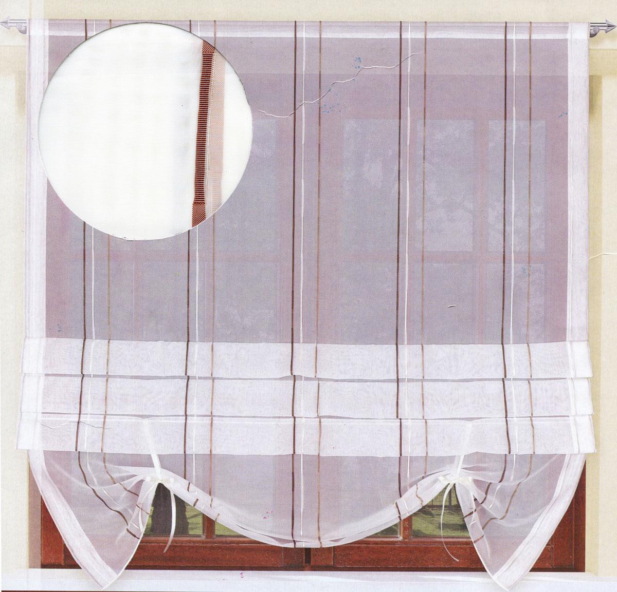 Гардина Haft, на ленте, цвет: молочный, высота 160 см. 200990/160E149Гардина Haft, изготовленная из органзы (100% полиэстера), великолепно украсит любое окно. Воздушная ткань, принт в полоску и приятная, приглушенная гамма привлекут к себе внимание и органично впишутся в интерьер помещения. Полиэстер - вид ткани, состоящий из полиэфирных волокон. Ткани из полиэстера - легкие, прочные и износостойкие. Такие изделия не требуют специального ухода, не пылятся и почти не мнутся.Гардина крепится на карниз при помощи ленты, которая поможет красиво и равномерно задрапировать верх. Такая гардина идеально оформит интерьер любого помещения.