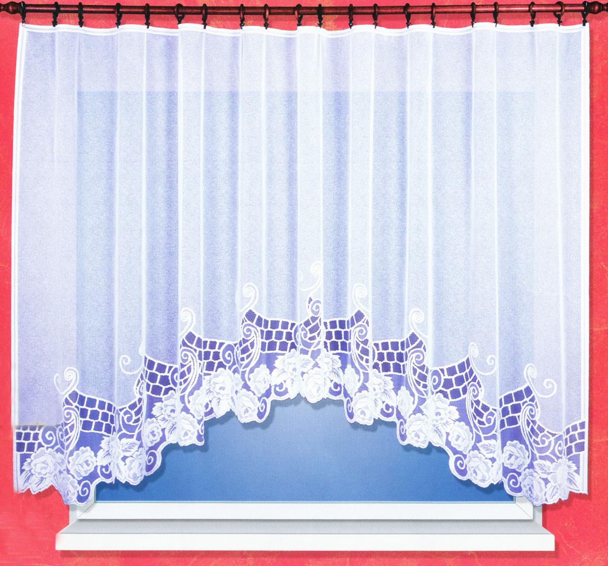 Гардина Haft, на ленте, цвет: белый, высота 160 см. 38200/160SVC-300Гардина Haft, изготовленная из сетчатой ткани (100% полиэстера), великолепноукрасит любое окно. Полупрозрачная ткань и цветочная вышивка привлекут ксебе внимание и органично впишутся в интерьер помещения. Полиэстер - вид ткани, состоящий из полиэфирных волокон. Ткани из полиэстера -легкие, прочные и износостойкие. Такие изделия не требуют специального ухода,не пылятся и почти не мнутся.Гардина крепится на карниз при помощи ленты, которая поможет красиво иравномерно задрапировать верх. Такая гардина идеально оформит интерьер любого помещения.
