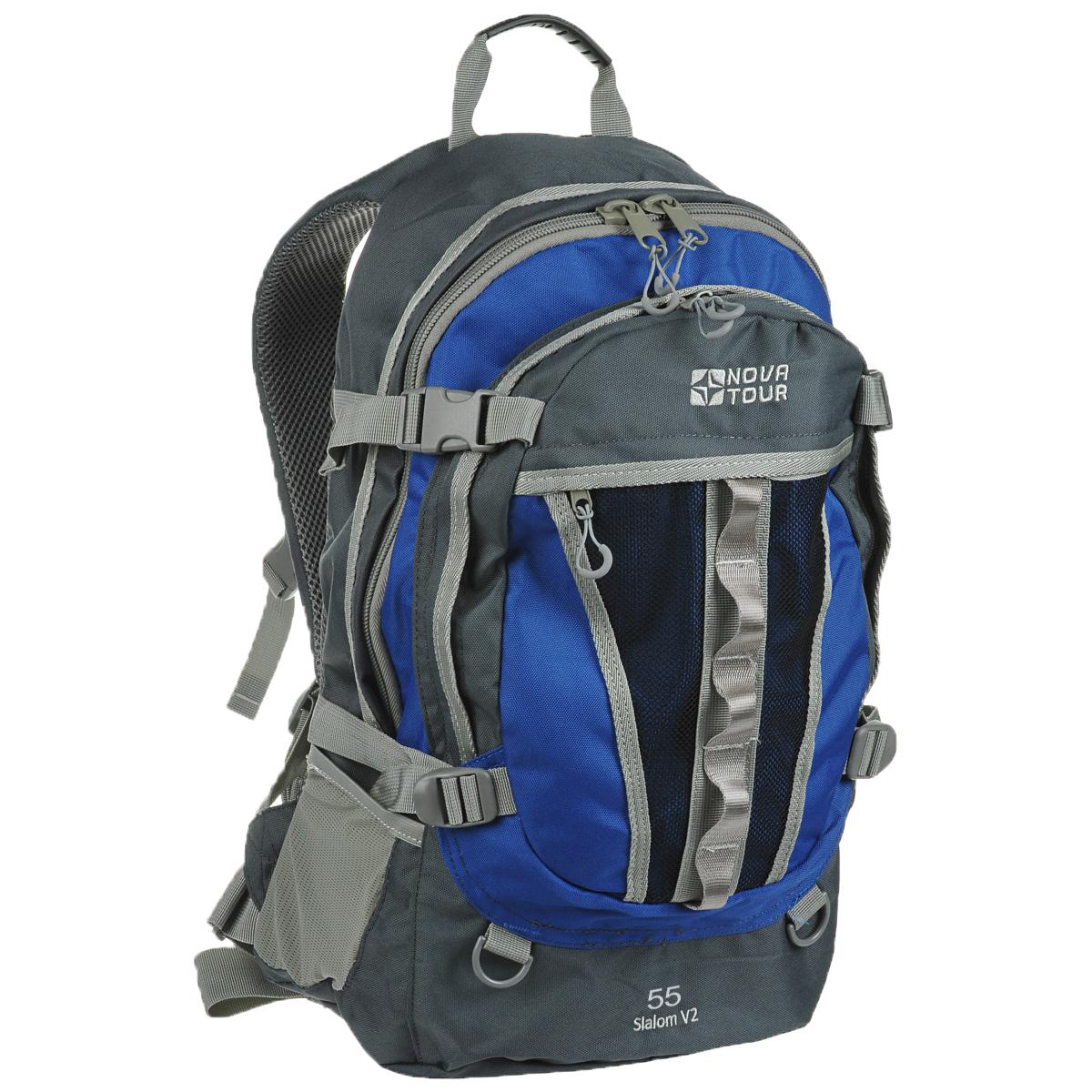 Рюкзак городской Nova Tour Слалом 55 V2, цвет: серый, синий. 95138-458-0095138-458-00Если все, что нужно ежедневно носить с собой, не помещается в обычный рюкзак, то Слалом 55 V2 специально для вас. Два вместительных отделения можно уменьшить боковыми стяжками или наоборот, если что-то не поместилось внутри, навесить снаружи на узлы крепления. Для удобства переноски тяжелого груза, на спинке предусмотрена удобная система подушек Air Mesh с полностью отстегивающимся поясным ремнем.Особенности:Прочная ткань с непромокаемой пропиткой.Сетчатый материал, отводящий влагу от вашего тела. Применяется на лямках, спинках и поясе рюкзака.Грудная стяжка для правильной фиксации лямок рюкзака и предотвращения их соскальзывания.Органайзер позволяет рационально разместить мелкие вещи внутри рюкзака.Объем: 55 л.