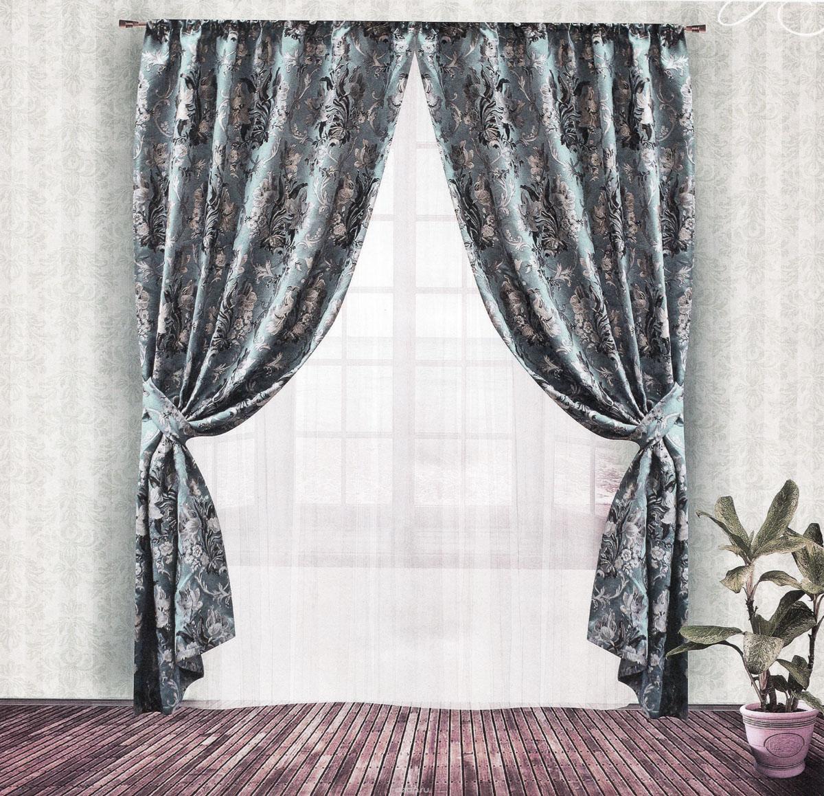 Комплект штор Zlata Korunka, на ленте, цвет: серо-голубой, высота 250 см. 55538SVC-300Роскошный комплект штор Zlata Korunka, выполненный из гобелена (100% полиэстера), великолепно украсит любое окно. Комплект состоит из двух портьер и двух подхватов. Плотная ткань, цветочный принт и приятная, приглушенная гамма привлекут к себе внимание и органично впишутся в интерьер помещения. Комплект крепится на карниз при помощи шторной ленты, которая поможет красиво и равномерно задрапировать верх. Портьеры можно зафиксировать в одном положении с помощью двух подхватов. Этот комплект будет долгое время радовать вас и вашу семью! В комплект входит: Портьера: 2 шт. Размер (ШхВ): 140 см х 250 см. Подхват: 2 шт. Размер (ШхВ): 60 см х 10 см.