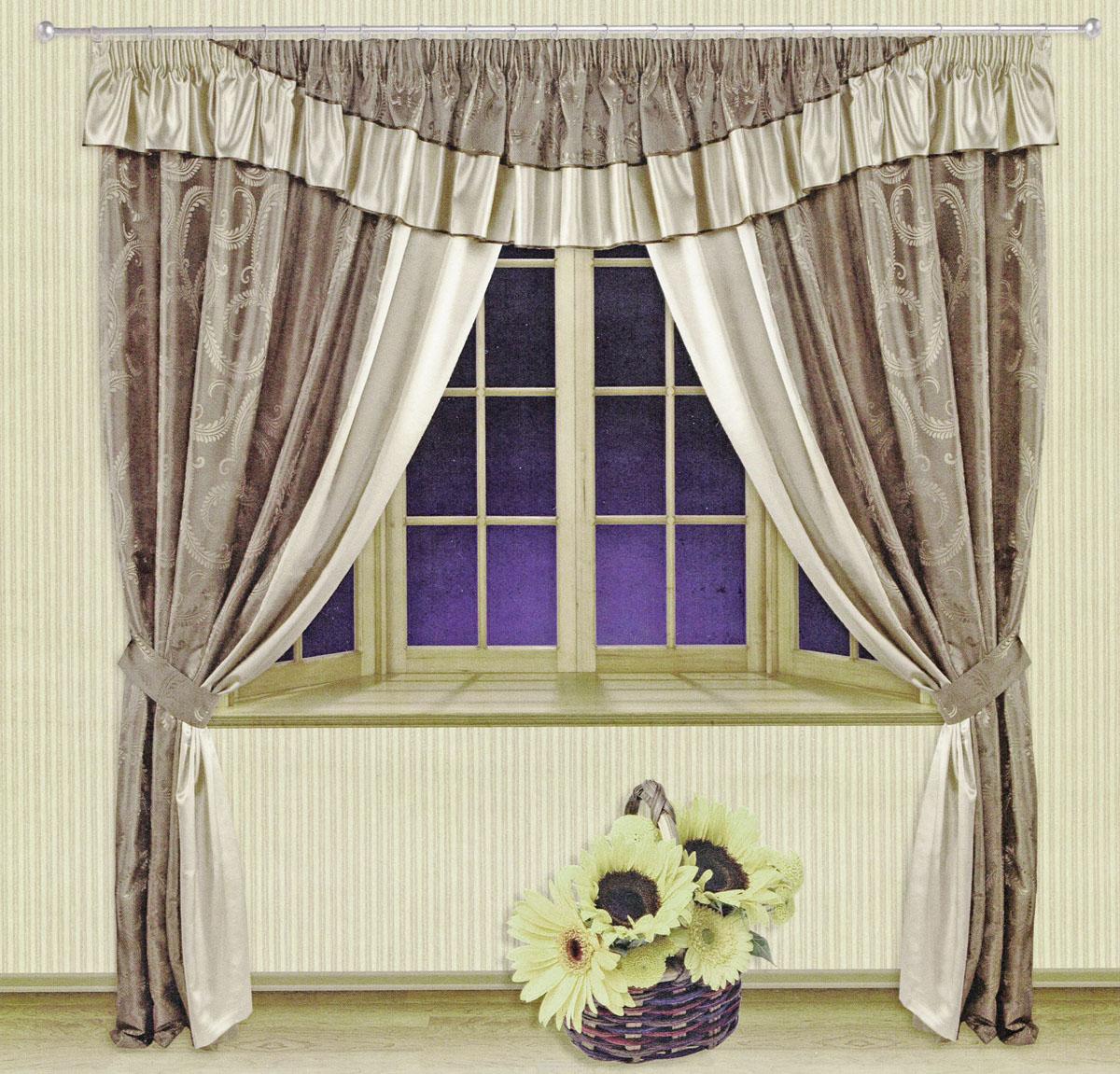 Комплект штор Zlata Korunka, на ленте, цвет: бежевый, серый, высота 250 см. 55509SVC-300Роскошный комплект штор Zlata Korunka, выполненный из ткани шанзализе и сатина (100% полиэстера), великолепно украсит любое окно. Комплект состоит из двух портьер, ламбрекена и двух подхватов. Плотная ткань, оригинальный орнамент и приятная, приглушенная гамма привлекут к себе внимание и органично впишутся в интерьер помещения. Комплект крепится на карниз при помощи шторной ленты, которая поможет красиво и равномерно задрапировать верх. Портьеры можно зафиксировать в одном положении с помощью двух подхватов. Этот комплект будет долгое время радовать вас и вашу семью! В комплект входит: Портьера: 2 шт. Размер (ШхВ): 210 см х 250 см. Ламбрекен: 1 шт. Размер (ШхВ): 450 см х 50 см.Подхват: 2 шт. Размер (ШхВ): 60 см х 10 см.