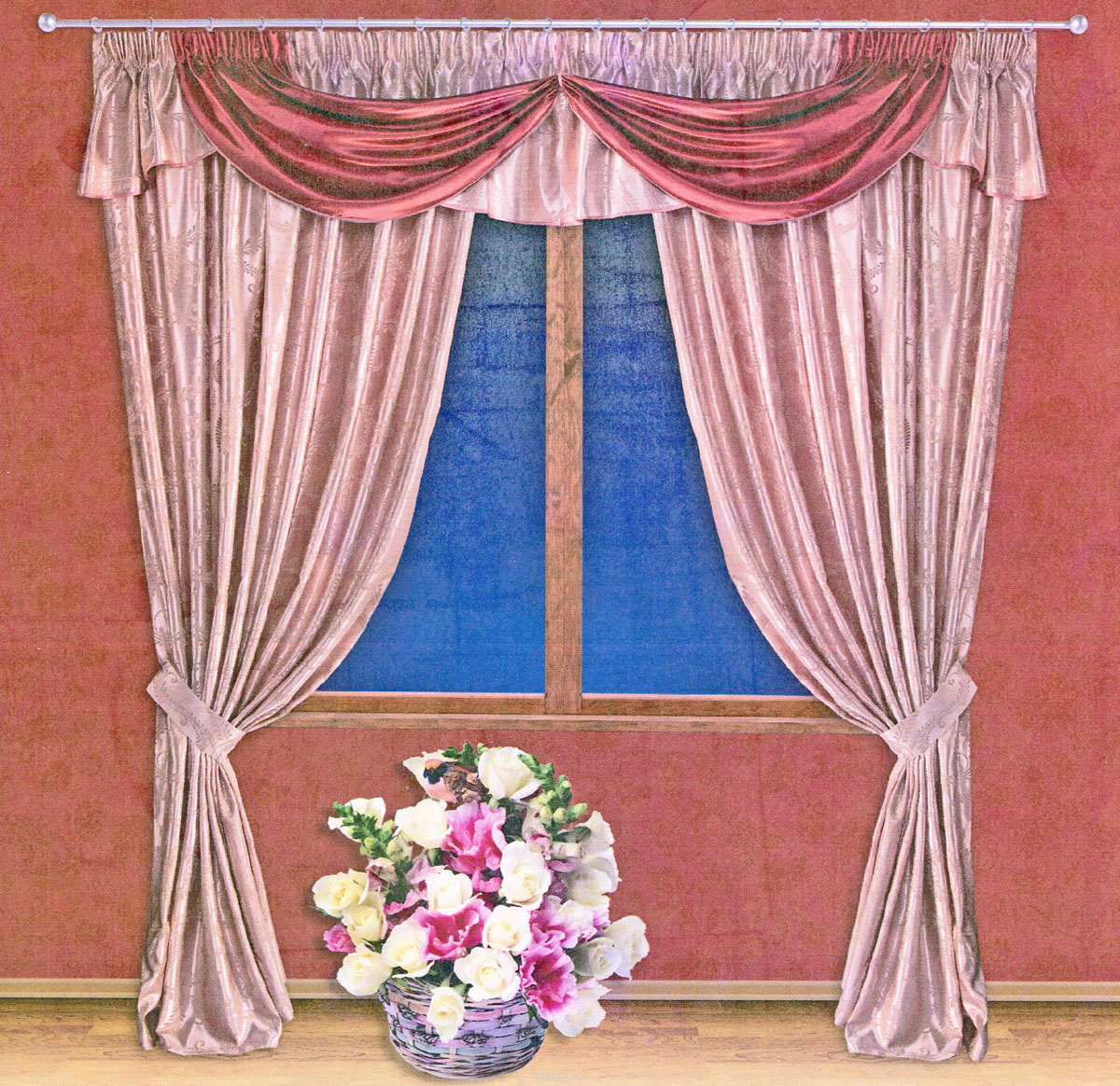 Комплект штор Zlata Korunka, на ленте, цвет: красный, бледно-розовый, высота 250 см. 5551220152-9Роскошный комплект штор Zlata Korunka, выполненный из ткани шанзализе, сатина и жаккарда (100% полиэстера), великолепно украсит любое окно. Комплект состоит из двух портьер, ламбрекена и двух подхватов. Плотная ткань, оригинальный орнамент и приятная, приглушенная гамма привлекут к себе внимание и органично впишутся в интерьер помещения. Комплект крепится на карниз при помощи шторной ленты, которая поможет красиво и равномерно задрапировать верх. Портьеры можно зафиксировать в одном положении с помощью двух подхватов. Этот комплект будет долгое время радовать вас и вашу семью! В комплект входит: Портьера: 2 шт. Размер (ШхВ): 200 см х 250 см. Ламбрекен: 1 шт. Размер (ШхВ): 450 см х 50 см.Подхват: 2 шт. Размер (ШхВ): 60 см х 10 см.