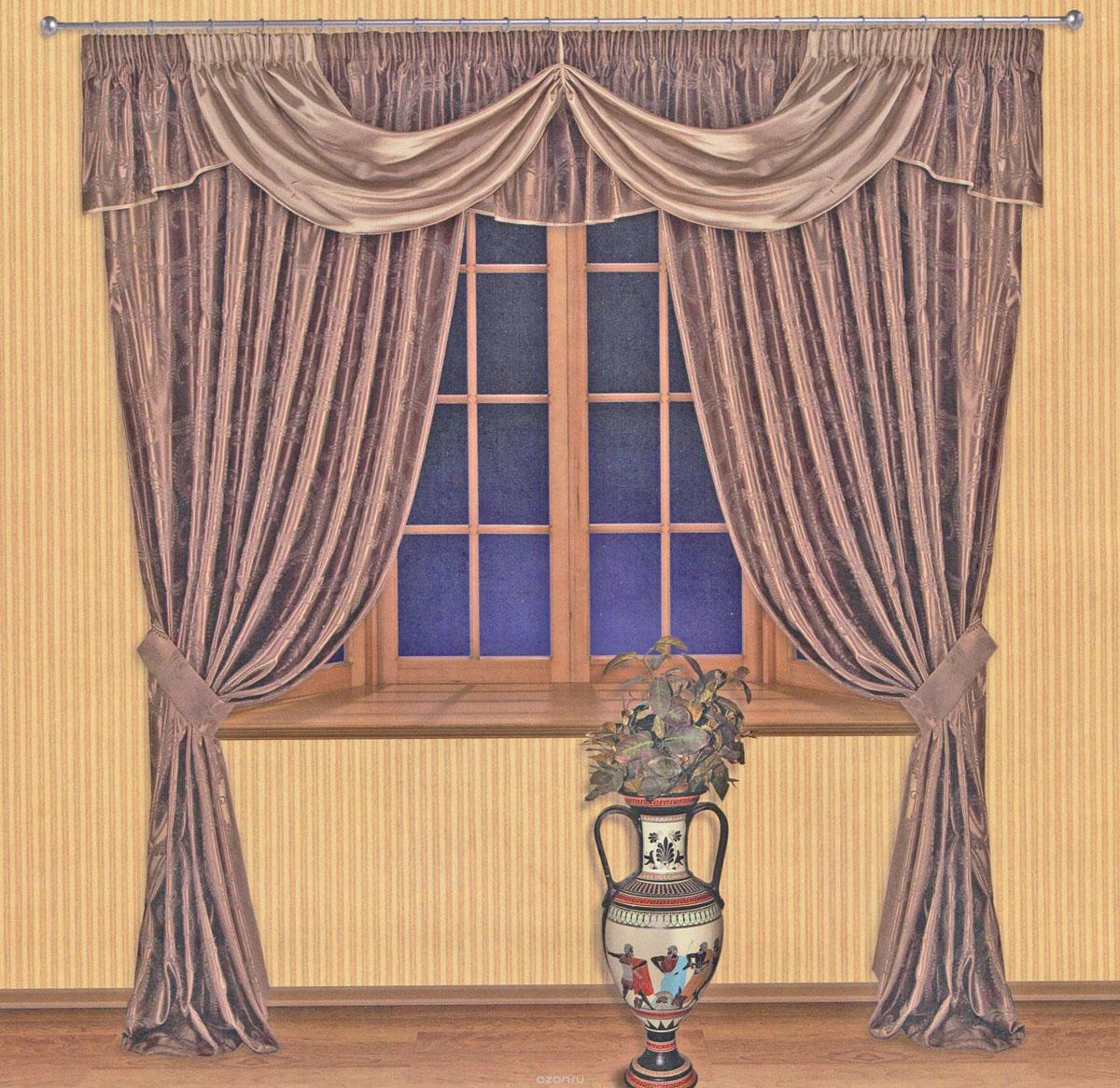 Комплект штор Zlata Korunka, на ленте, цвет: шоколадный, высота 250 см. 55511IR-F1-WРоскошный комплект штор Zlata Korunka, выполненный из ткани шанзализе, сатина и жаккарда (100% полиэстера), великолепно украсит любое окно. Комплект состоит из двух портьер, ламбрекена и двух подхватов. Плотная ткань, оригинальный орнамент и приятная, приглушенная гамма привлекут к себе внимание и органично впишутся в интерьер помещения. Комплект крепится на карниз при помощи шторной ленты, которая поможет красиво и равномерно задрапировать верх. Портьеры можно зафиксировать в одном положении с помощью двух подхватов. Этот комплект будет долгое время радовать вас и вашу семью! В комплект входит: Портьера: 2 шт. Размер (ШхВ): 200 см х 250 см. Ламбрекен: 1 шт. Размер (ШхВ): 450 см х 50 см.Подхват: 2 шт. Размер (ШхВ): 60 см х 10 см.