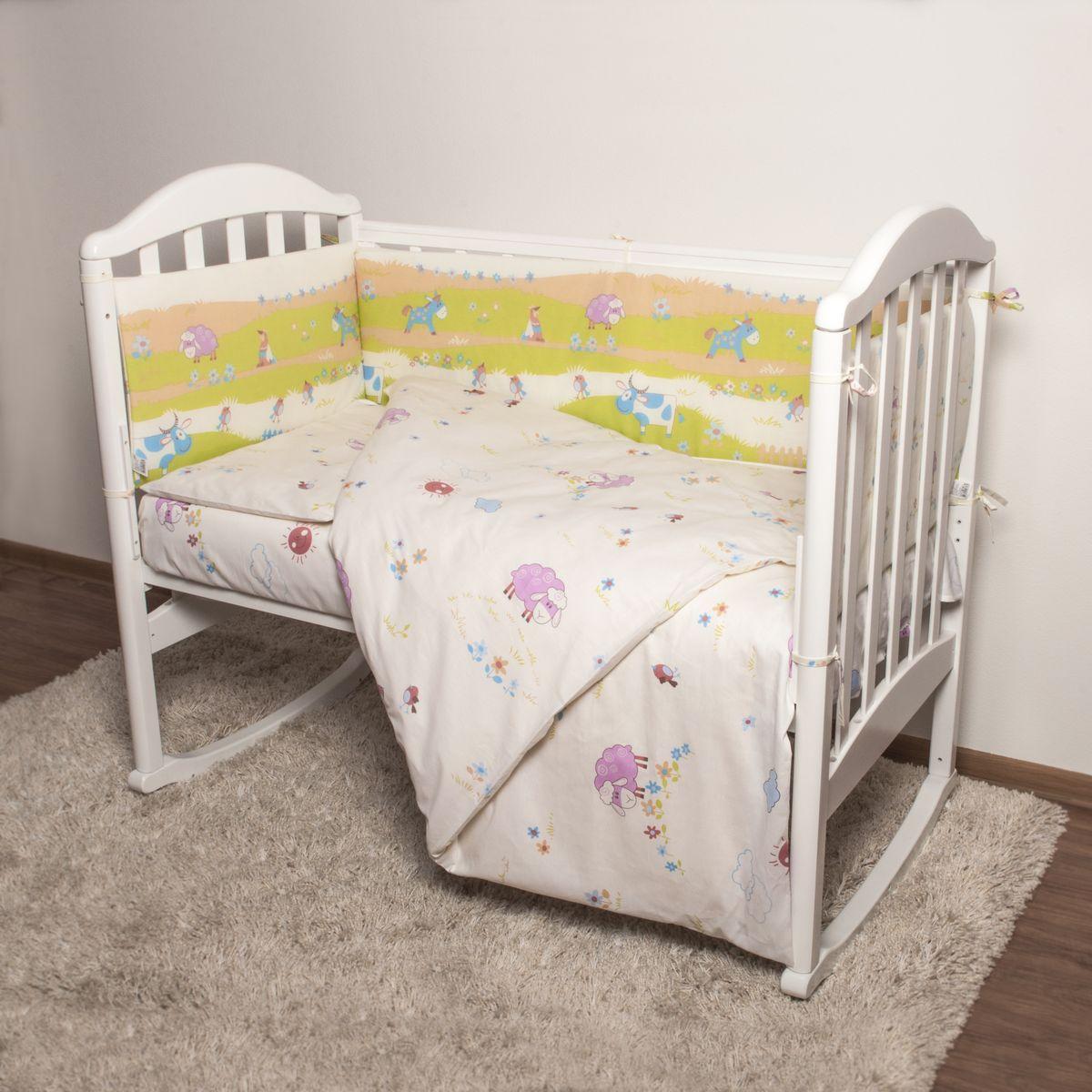 Baby Nice Детский комплект в кроватку Ферма (КПБ, бязь, наволочка 40х60), цвет: желтыйPANTERA SPX-2RSКомплект в кроватку Baby Nice Ферма для самых маленьких изготовлен только из самой качественной ткани, самой безопасной и гигиеничной, самой экологичной и гипоаллергенной. Отлично подходит для кроваток малышей, которые часто двигаются во сне. Хлопковое волокно прекрасно переносит стирку, быстро сохнет и не требует особого ухода, не линяет и не вытягивается. Ткань прошла специальную обработку по умягчению, что сделало ее невероятно мягкой и приятной к телу. Комплект создаст дополнительный комфорт и уют ребенку. Родителям не составит особого труда ухаживать за комплектом. Он превосходно стирается, легко гладится. Ваш малыш будет в восторге от такого необыкновенного постельного набора! В комплект входит: одеяло, пододеяльник, подушка, наволочка, простыня, борт.