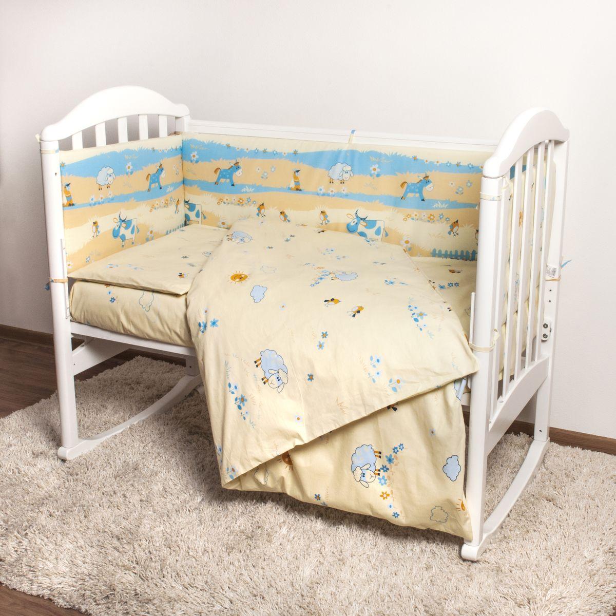Baby Nice Детский комплект в кроватку Ферма (КПБ, бязь, наволочка 40х60), цвет: бежевый, голубой531-105Комплект в кроватку Baby Nice Ферма для самых маленьких изготовлен только из самой качественной ткани, самой безопасной и гигиеничной, самой экологичной и гипоаллергенной. Отлично подходит для кроваток малышей, которые часто двигаются во сне. Хлопковое волокно прекрасно переносит стирку, быстро сохнет и не требует особого ухода, не линяет и не вытягивается. Ткань прошла специальную обработку по умягчению, что сделало ее невероятно мягкой и приятной к телу. Комплект создаст дополнительный комфорт и уют ребенку. Родителям не составит особого труда ухаживать за комплектом. Он превосходно стирается, легко гладится. Ваш малыш будет в восторге от такого необыкновенного постельного набора! В комплект входит: одеяло, пододеяльник, подушка, наволочка, простыня, борт.