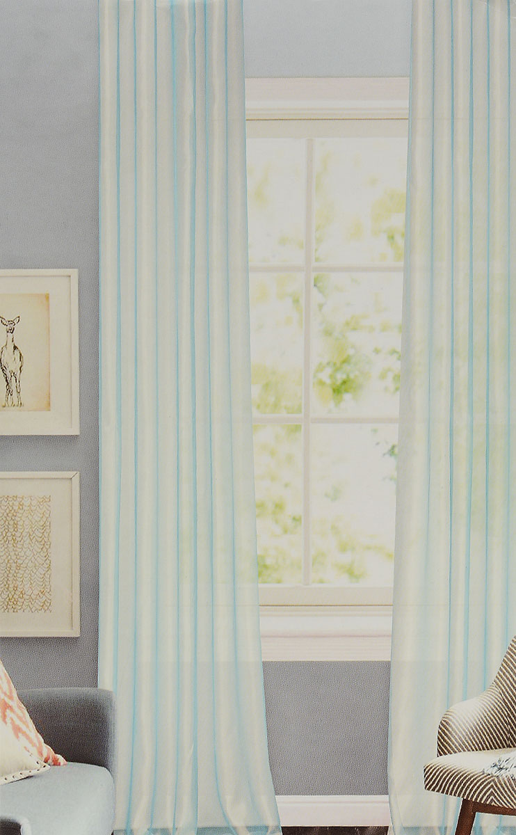 Штора готовая для гостиной Garden, на ленте, цвет: светло-бирюзовый, размер 300*260 см. CW875 V2720156-9Изящная тюлевая штора Garden выполнена из структурной органзы (100% полиэстера). Полупрозрачная ткань, приятный цвет привлекут к себе внимание и органично впишутся в интерьер помещения. Такая штора идеально подходит для солнечных комнат. Мягко рассеивая прямые лучи, она хорошо пропускает дневной свет и защищает от посторонних глаз. Отличное решение для многослойного оформления окон. Штора крепится на карниз при помощи ленты, которая поможет красиво и равномерно задрапировать верх.