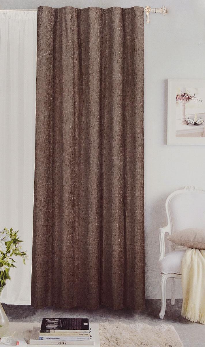 Штора готовая Garden, на ленте, цвет: коричневый, размер 200*260 см. С 535823 V7806854350/160Готовая портьерная штора Garden выполнена из шинила(100% полиэстера). Материал плотный и мягкий на ощупь.Оригинальная текстура ткани и спокойная цветовая гамма привлекут к себе внимание и органично впишутся в интерьер помещения.Эта штора будет долгое время радовать вас и вашу семью!Штора крепится на карниз при помощи ленты, которая поможет красиво и равномерно задрапировать верх. Стирка при температуре 30°С.