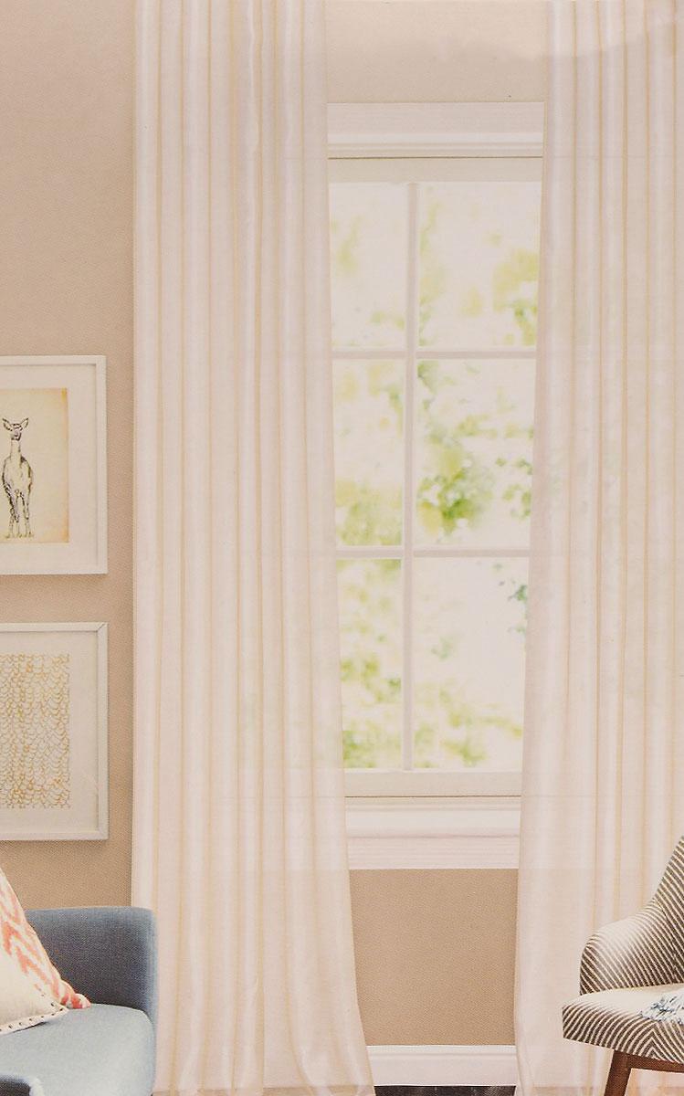 Штора готовая для гостиной Garden, на ленте, цвет: кремовый, размер 300*260 см. CW875 V2420154-2Изящная тюлевая штора Garden выполнена из структурной органзы (100% полиэстера). Полупрозрачная ткань, приятный цвет привлекут к себе внимание и органично впишутся в интерьер помещения. Такая штора идеально подходит для солнечных комнат. Мягко рассеивая прямые лучи, она хорошо пропускает дневной свет и защищает от посторонних глаз. Отличное решение для многослойного оформления окон. Штора крепится на карниз при помощи ленты, которая поможет красиво и равномерно задрапировать верх.