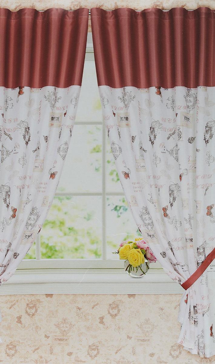 Комплект штор Garden, на ленте, цвет: белый, красный, размер 145*180 см. С 6307 - W356 - W1223 v13SVC-300Роскошный комплект штор Garden, выполненный из батиста (100% полиэстера), великолепно украсит любое окно. Комплект состоит из двух портьер и двух подхватов. Плотная ткань и приятная, приглушенная гамма привлекут к себе внимание и органично впишутся в интерьер помещения. Комплект крепится на карниз при помощи шторной ленты, которая поможет красиво и равномерно задрапировать верх. Портьеры можно зафиксировать в одном положении с помощью двух подхватов. Этот комплект будет долгое время радовать вас и вашу семью! В комплект входит: Портьера: 2 шт. Размер (ШхВ): 145 см х 180 см. Подхват: 2 шт. Размер (ШхВ): 70 см х 6 см.