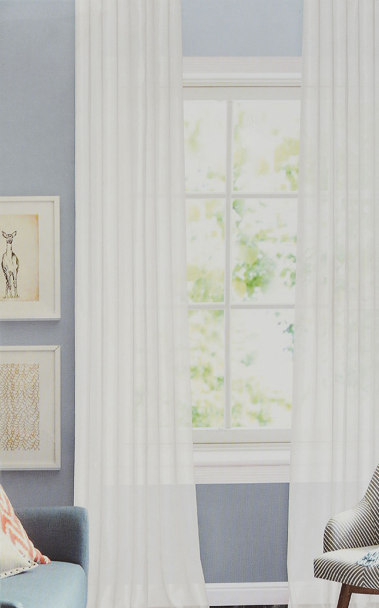 Штора готовая Garden, на ленте, цвет: белый, размер 300*260 см. CW1012 V120156-4Изящная тюлевая штора Garden выполнена из структурной органзы (100% полиэстера). Полупрозрачная ткань, приятный цвет привлекут к себе внимание и органично впишутся в интерьер помещения. Такая штора идеально подходит для солнечных комнат. Мягко рассеивая прямые лучи, она хорошо пропускает дневной свет и защищает от посторонних глаз. Отличное решение для многослойного оформления окон. Штора крепится на карниз при помощи ленты, которая поможет красиво и равномерно задрапировать верх.