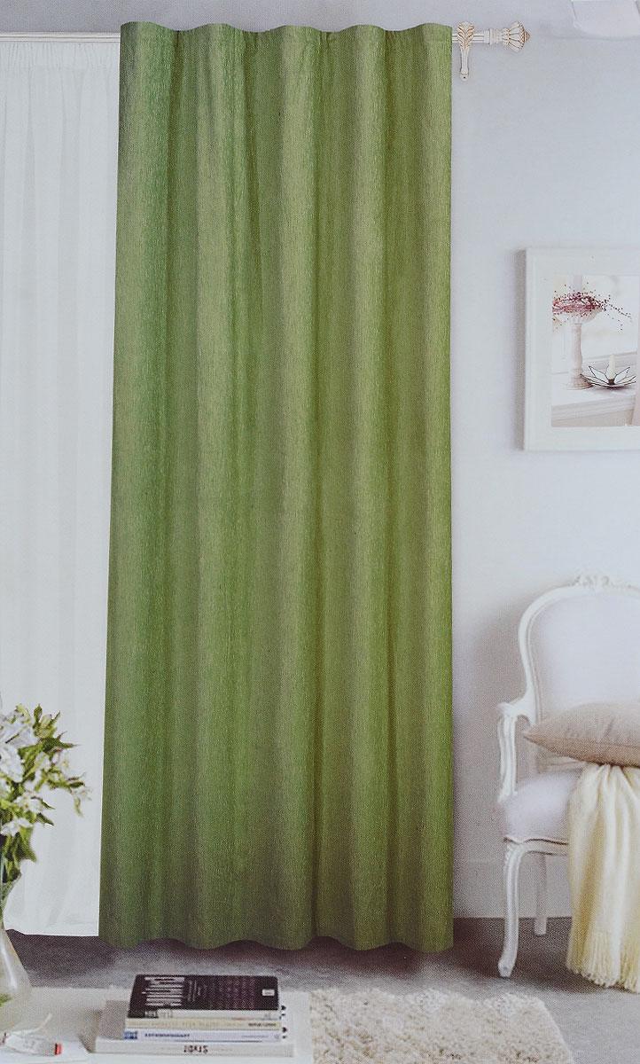 Штора готовая Garden, на ленте, цвет: зеленый, размер 200*260 см. С 535823 V73171S03301004Готовая портьерная штора Garden выполнена из шинила(100% полиэстера). Материал плотный и мягкий на ощупь.Оригинальная текстура ткани и спокойная цветовая гамма привлекут к себе внимание и органично впишутся в интерьер помещения.Эта штора будет долгое время радовать вас и вашу семью!Штора крепится на карниз при помощи ленты, которая поможет красиво и равномерно задрапировать верх. Стирка при температуре 30°С.