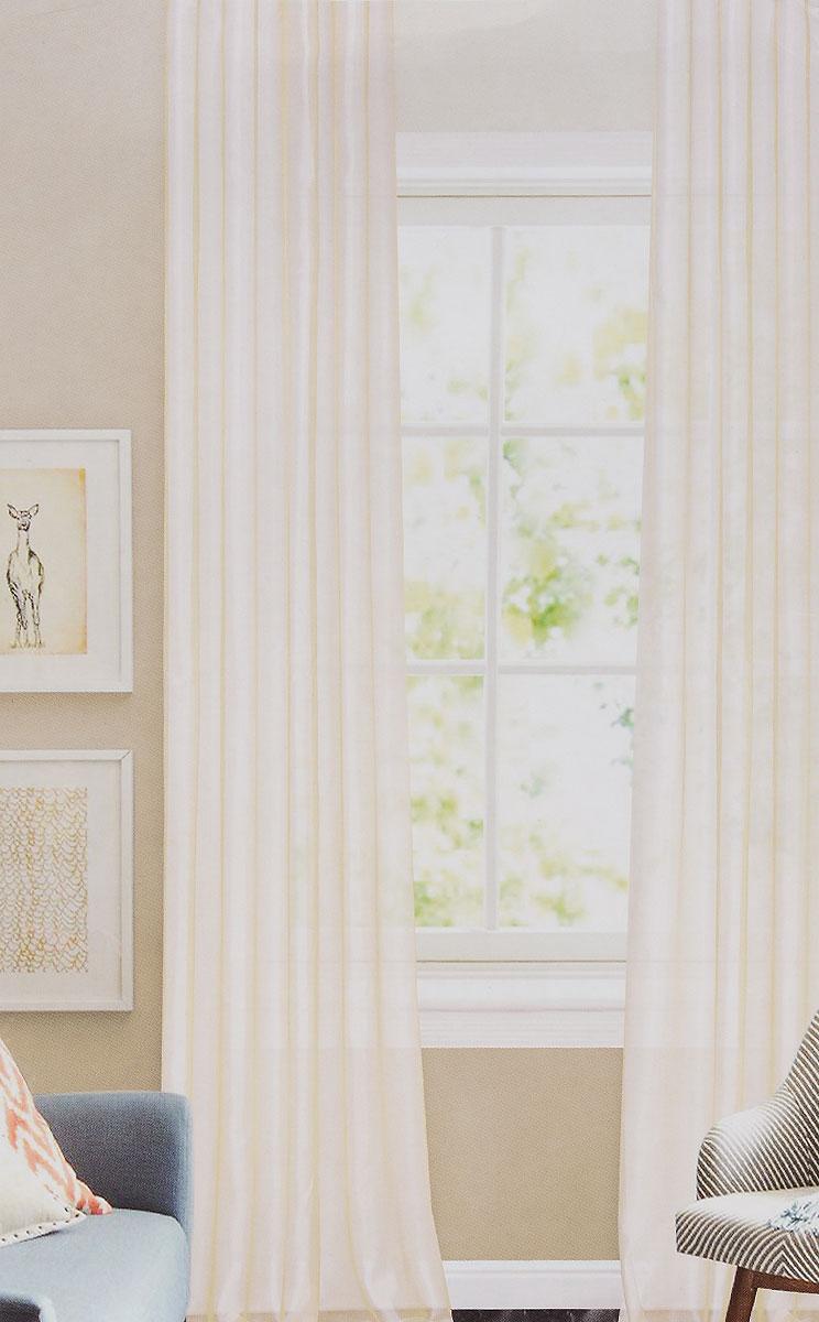 Штора готовая для гостиной Garden, на ленте, цвет: молочный, высота 260 см. CW875 V71002CW875 V71002Изящная тюлевая штора Garden выполнена из структурной органзы (100% полиэстера). Полупрозрачная ткань, приятный цвет привлекут к себе внимание и органично впишутся в интерьер помещения. Такая штора идеально подходит для солнечных комнат. Мягко рассеивая прямые лучи, она хорошо пропускает дневной свет и защищает от посторонних глаз. Отличное решение для многослойного оформления окон. Штора крепится на карниз при помощи ленты, которая поможет красиво и равномерно задрапировать верх.