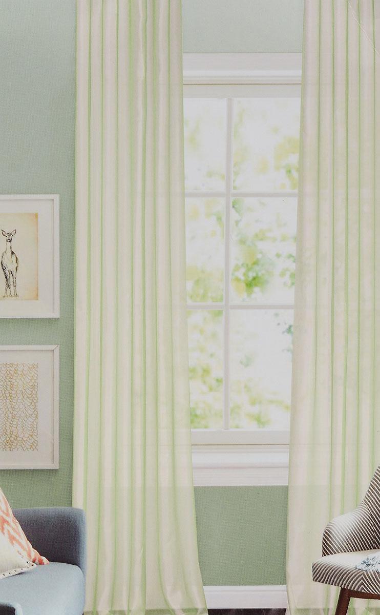 Штора готовая для гостиной Garden, на ленте, цвет: светло-зеленый, размер 300*260 см. CW875 V1119201Изящная тюлевая штора Garden выполнена из структурной органзы (100% полиэстера). Полупрозрачная ткань, приятный цвет привлекут к себе внимание и органично впишутся в интерьер помещения. Такая штора идеально подходит для солнечных комнат. Мягко рассеивая прямые лучи, она хорошо пропускает дневной свет и защищает от посторонних глаз. Отличное решение для многослойного оформления окон. Штора крепится на карниз при помощи ленты, которая поможет красиво и равномерно задрапировать верх.