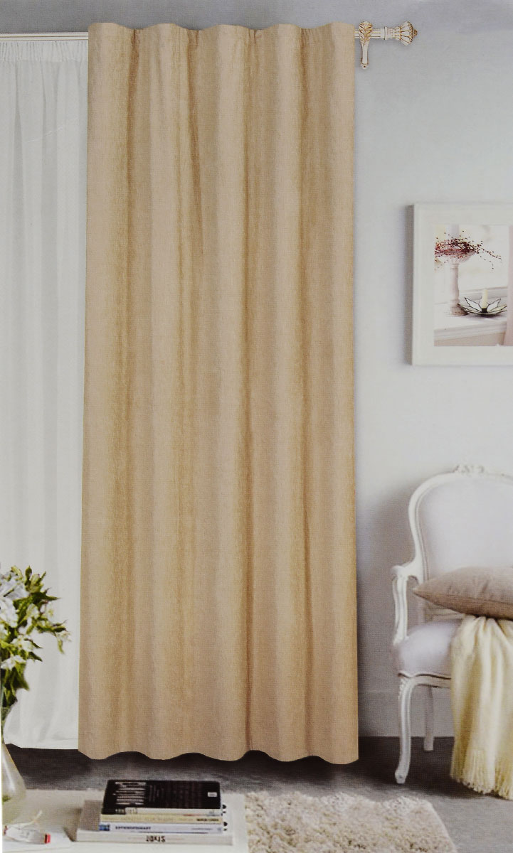 Штора готовая Garden, на ленте, цвет: бежевый, размер 200*260 см. С 535823 V7117254350/160Готовая портьерная штора Garden выполнена из шинила(100% полиэстера). Материал плотный и мягкий на ощупь.Оригинальная текстура ткани и спокойная цветовая гамма привлекут к себе внимание и органично впишутся в интерьер помещения.Эта штора будет долгое время радовать вас и вашу семью!Штора крепится на карниз при помощи ленты, которая поможет красиво и равномерно задрапировать верх. Стирка при температуре 30°С.