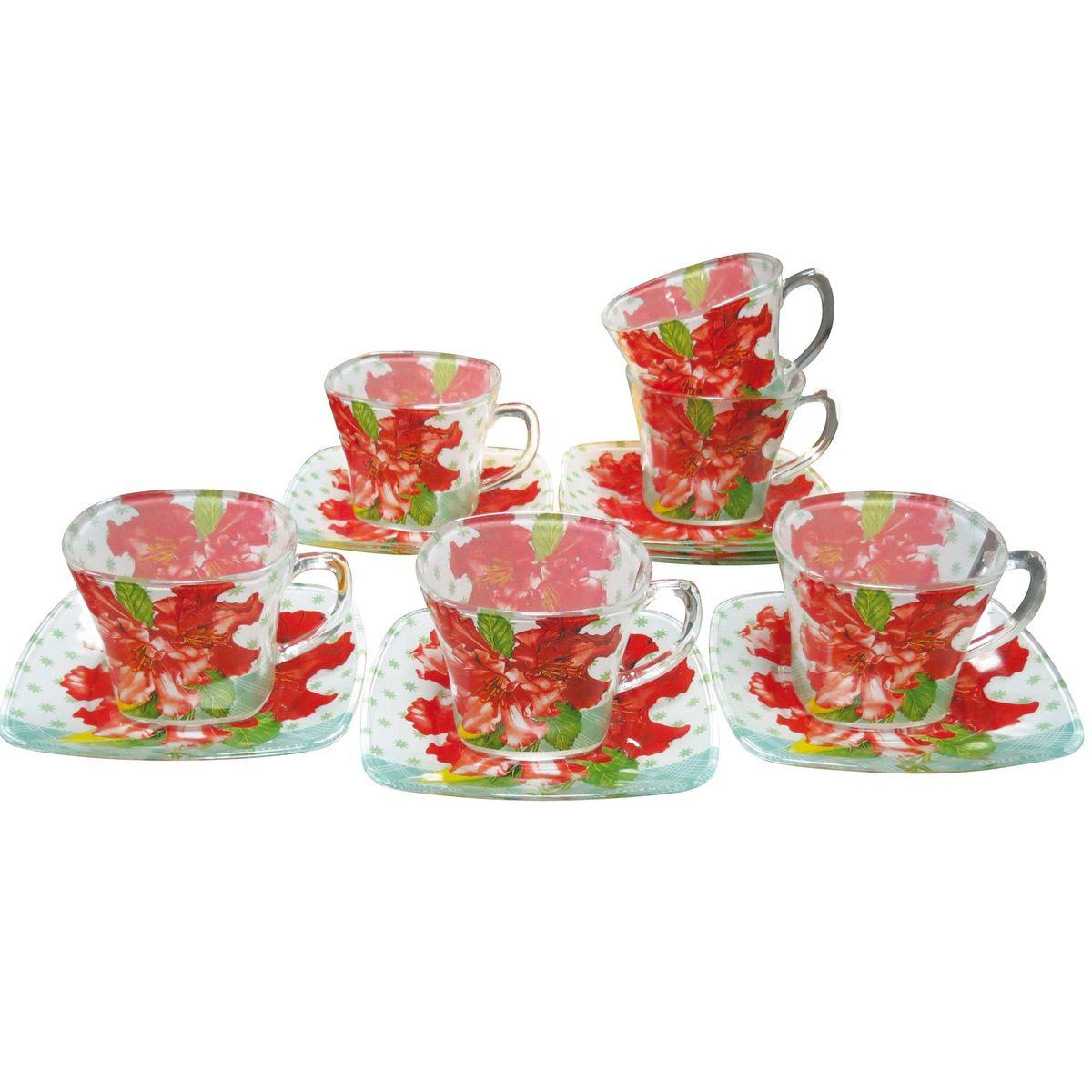 Набор чайный BK-5846 12прVT-1520(SR)12пр.: чашка - 6шт. (220мл), блюдце - 6шт. (13,4*16см). Подарочнаяупаковка. Состав: стекло.