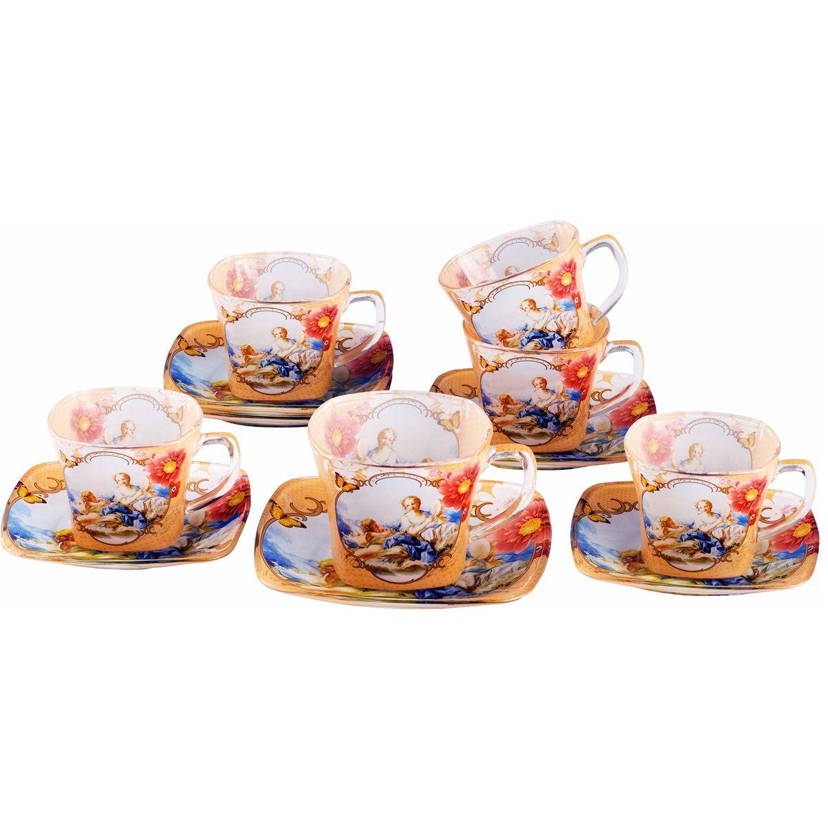 Набор чайный Bekker Koch, цвет: пшеничный, голубой, 12 предметов. BK-5857Аксион Т-33Чайный набор Bekker Koch состоит из шести чашек и шести блюдец, изготовленных из высококачественного стекла. Внешняя поверхность предметов набора матовая с прозрачными вставками. Изделия оформлены изящным изображением ангелов и цветков. Изящный набор эффектно украсит стол к чаепитию и порадует вас функциональностью и ярким дизайном. Объем чашки: 200 мл. Диаметр (по верхнему краю): 8 см. Высота чашки: 6,5 см. Диаметр блюдца: 13,5 см. Не применять абразивные чистящие средства. Не использовать в микроволновой печи. Мыть с применением нейтральных моющих средств. Нельзя мыть в посудомоечных машинах.