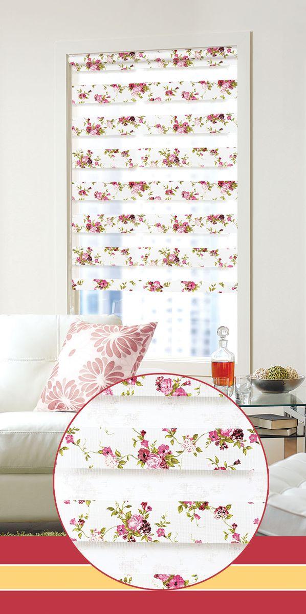 """Мини ролло Garden """"День-ночь 5"""" 80х160 см, крепление универсальное, цвет: белый, розовый, Garden (Текстиль)"""