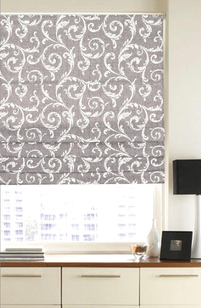 Римская штора Garden, 120x170 см, цвет: светло-серыйK100Римская штора Garden, выполненная из высокопрочной ткани и украшенная оригинальным узором, является отличным заменителем обычных портьер. Ее можно установить там, где невозможно повесить обычные шторы. Конструкция римской шторы позволяет ее разместить даже на самых маленьких оконных проемах. Данный вид декора окна будет выглядеть эстетично долгое время. Римская штора представляет собой полотно, по ширине которого параллельно друг другу вшиты пластиковые или деревянные рейки. На концах этих планок закреплены кольца, сквозь которые пропущен шнур. С его помощью осуществляется управление шторой. При движении шнура вниз происходит складывание полотна и его поднятие в верхнюю часть оконного проема. При закрывании шнур поднимается, а складки, образованные тканью, расправляются и опускаются на окно.Крепление универсальное, шторы крепятся либо скобами на раму, либо на крепление с двусторонним скотчем. Такая штора станет прекрасным элементом декора окна и гармонично впишется в интерьер любого помещения.Комплект для монтажа прилагается.
