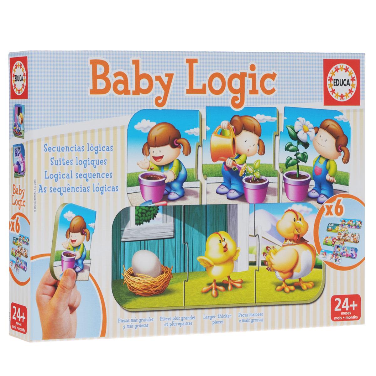 """Игра-пазл """"Логика"""" обязательно привлечет внимание вашего малыша и поднимет настроение жизнерадостными образами! Комплект включает в себя 18 элементов, с помощью которых ребенок сможет собрать шесть логических картинок. Пазлы собираются из трех элементов. Ребенку предстоит сформировать последовательность между картинками, выстроив логическую цепочку, например: яйцо - цыпленок - курица. Благодаря прочному материалу детали пазлов легко крепятся между собой, а крупный размер деталей будет удобен для маленьких ручек малыша. Игра-пазл """"Логика"""" поможет ребенку в развитии логического мышления, воображения, памяти и мелкой моторики рук."""