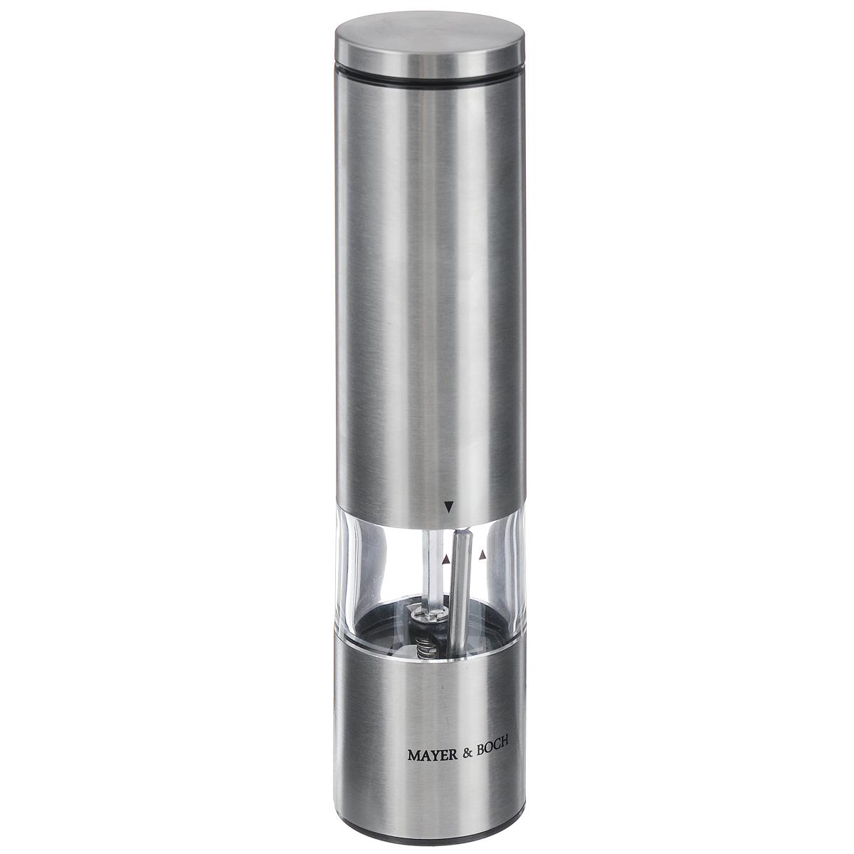 Мельница для перца Mayer & Boch, электрическая, высота 22 смFD-59Электрическая мельница для перца Mayer & Boch выполнена в стильном дизайне. Изделиеимеет пластиковое основание, корпус выполнен из нержавеющей стали и акрилового стекла. Механизм помола оснащен керамическими жерновами. Изделие прекрасно подходит для помола перца,соли и других специй. Мельница имеет два режима: ручной и автоматический. Изделиеоснащено подсветкой. Мельница Mayer & Boch добавит вашим блюдам яркие вкусовые краски. Созданная извысококачественных материалов и имеющая запатентованный, оригинальный механизм мельницастанет незаменимым атрибутом на вашем столе. Она удобна в использовании и имеет яркийсовременный дизайн, который станет ярким акцентом в интерьере вашей кухни. Работает от 6 батареек типа ААА (в комплект не входят). Для работы мельницы батарейки необходимо вставить в корпус изделия. Диаметр мельницы: 5 см. Высота мельницы: 22 см.