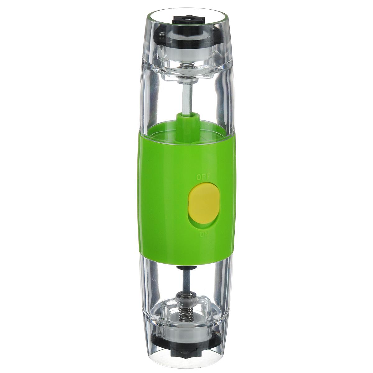 Электрическая мельница для соли и перца Mayer&Boch 2416724165Электрическая мельница Mayer&Boch - это просто незаменимая вещь на кухне любой современной хозяйки. Электрическая мельница с легкостью справится с горошинами перца или крупными кристаллами соли. Надежный и прочный механизм мельницы запускается при нажатии на кнопку. Мельница имеет регулировку степени измельчения. С такой удобной и функциональной мельницей, приготовление и употребление пищи переходит на качественно новый уровень. Работает от батареек АAА (не входят в комплект).Мельница электрическая МВ (х24).Цвет: зеленый, прозрачный, черный.Материал корпуса: керамика.Внутренняя стенка: АБС-пластик.Контейнер: акрил.Поверхность: АБС-пластик. Мелющий механизм: нержавеющая сталь. Тип питания: 4 батарейки типа АА.Размер упаковки: 6,3 х 6,3 х 21 см.