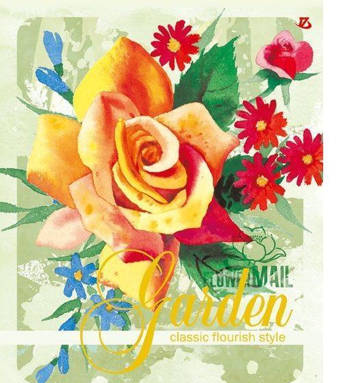 Тетрадь Seventeen Garden с красочным изображением на обложке подойдет для выполнения любых работ.  Обложка тетради с закругленными углами изготовлена из мелованного картона. Внутренний блок тетради на гребне состоит из 48 листов качественной белой бумаги. Все листы расчерчены в клетку без полей.