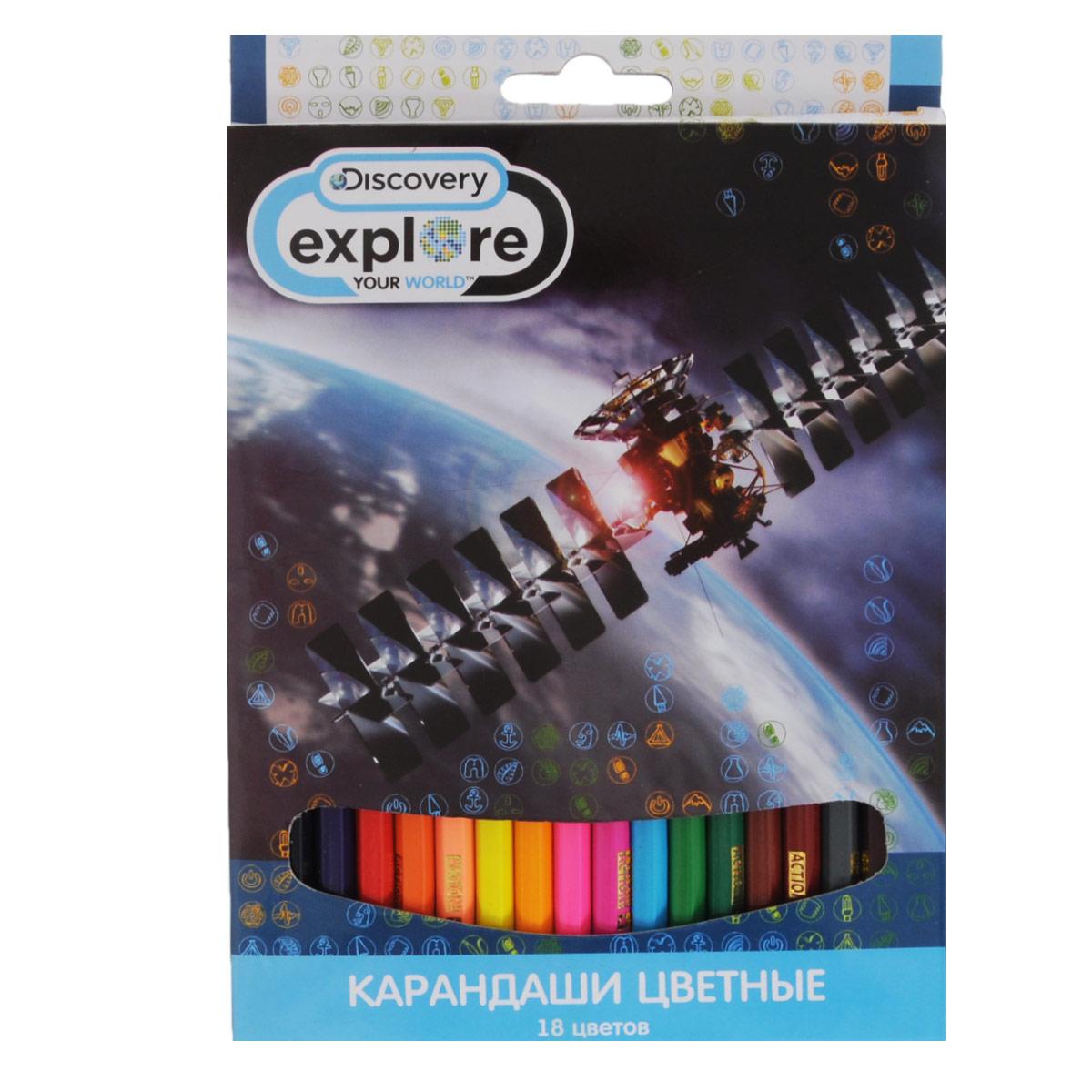 Набор цветных карандашей Action Discovery, 18 цветов730396Цветные карандаши Action Discovery откроют юным художникам новые горизонты для творчества, а также помогут отлично развить мелкую моторику рук, цветовое восприятие, фантазию и воображение. Традиционный шестигранный корпус изготовлен из натуральной древесины с многослойной покраской. Карандаши удобно держать в руках, а мягкий грифель не требует сильного нажима.Комплект включает 18 заточенных карандашей ярких насыщенных цветов.
