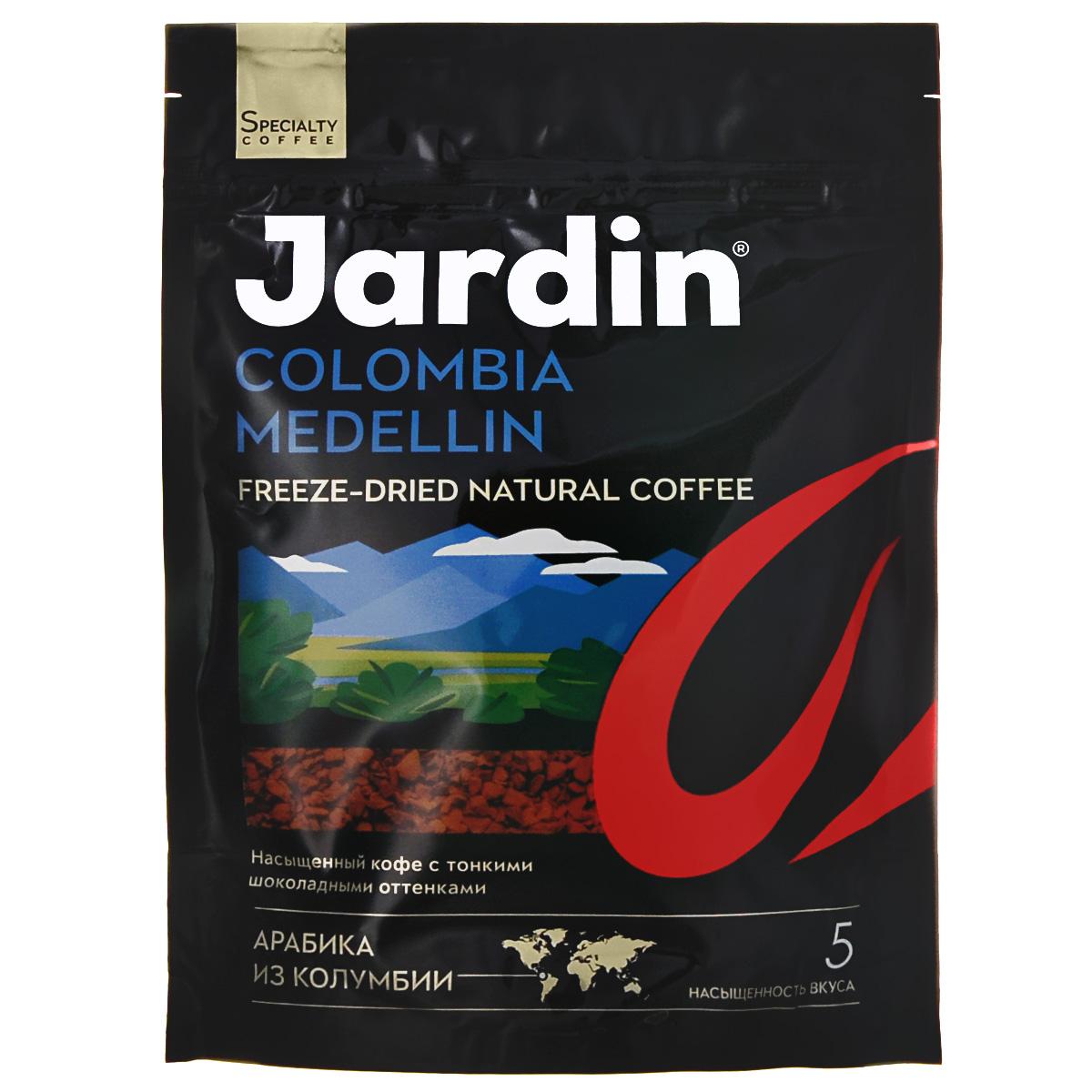 Jardin Colombia Medellin кофе растворимый, 75 г (м/у)0120710Растворимый кофе Jardin Colombia Medellin обладает крепким, насыщенным, интенсивным ароматом. Вкус арабики из колумбийского региона Меделлин особо ценится за сочетание цветочных и шоколадных нот.А всего одна ложка сахара добавит вкусу новые карамельные ноты крем-брюле.