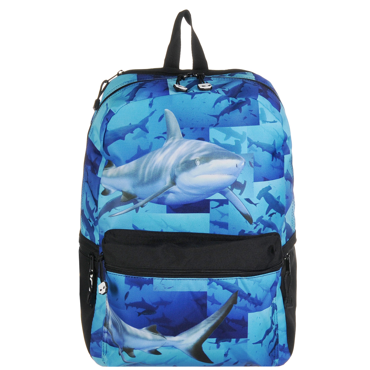 Рюкзак городской Mojo Pax Sharks, 20 л3263203410Городской рюкзак Mojo Pax Sharks подходит для тех, кто привык шокировать и выделяться из толпы. Идеальный вариант для школьников и студентов. Рюкзак выполнен из плотного полиэстера с оригинальным рисунком, материал изделия устойчив к воздействию влаги и не выгорает. Модель очень вместительная и функциональная: в основной отсек, закрывающийся на застежку-молнию, вместятся тетрадки, учебники и другие вещи. Также имеется специальное отделение для планшета, с мягкими стенками для защиты гаджета от повреждений. Снаружи расположено 3 кармашка на молнии для мелочей. Рюкзак имеет уплотненную спинку и мягкие широкие лямки регулируемой длины, а также петлю для переноски в руке. В этом динамичном мире дерзкий и яркий дизайн рюкзаков - не просто дань моде, а сигнал: Я не буду сливаться с толпой, я привык выделяться и везде быть первым!. Принт активного синего цвета с акулами смотрится действительно опасно и смело. За счет люминесцентной краски в ультрафиолете рюкзак светится ярко-синим неоновым цветом.