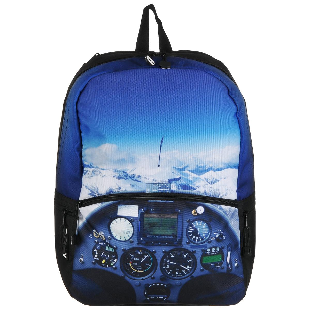 Рюкзак городской Mojo Pax Cockpit, 20 л30776Городской рюкзак Mojo Pax Cockpit подходит для тех, кто привык шокировать и выделяться из толпы. Идеальный вариант для школьников и студентов. Рюкзак выполнен из плотного полиэстера с оригинальным рисунком, материал изделия устойчив к воздействию влаги и не выгорает. За счет люминесцентной краски рисунок светится при ультрафиолетовом свете. Модель очень вместительная и функциональная: в основной отсек, закрывающийся на застежку-молнию, вместятся тетрадки, учебники и другие вещи. Также имеется специальное отделение для планшета, с мягкими стенками для защиты гаджета от повреждений. Снаружи расположено 3 кармашка на молнии для мелочей. Рюкзак имеет уплотненную спинку и мягкие широкие лямки регулируемой длины, а также петлю для переноски в руке. Этот яркий и нестандартный рюкзак от Mojo буквально поражает воображение! Кусочек захватывающего дух вида из кабины авиалайнера в качестве принта делает этот рюкзак не просто аксессуаром, а частью жизненной философии. Любите свободу? Кладите в рюкзак ноутбук и любимые джинсы и вперед - покорять города и страны!