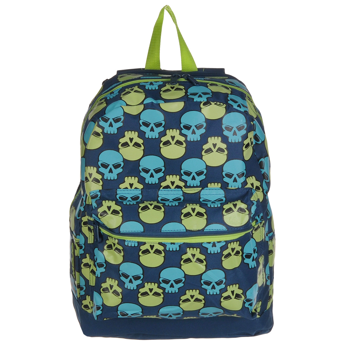 Рюкзак городской Mojo Pax Brite Skull Checker, 17 лKZ9983489Городской рюкзак Mojo Pax Brite Skull Checker подходит для тех, кто привык шокировать и выделяться из толпы. Идеальный вариант для школьников и студентов. Рюкзак выполнен из плотного полиэстера с оригинальным рисунком, материал изделия устойчив к воздействию влаги и не выгорает. За счет люминесцентной краски рисунок светится в ультрафиолете и темноте. Модель очень вместительная и функциональная: в основной отсек, закрывающийся на застежку-молнию, вместятся тетрадки, учебники и другие вещи. Также имеется специальное отделение для планшета, с мягкими стенками для защиты гаджета от повреждений. Снаружи расположен карман на молнии для мелочей. Рюкзак имеет уплотненную спинку и мягкие широкие лямки регулируемой длины, а также петлю для переноски в руке. Модель имеет довольно смелый и даже вызывающий дизайн. Этот рюкзак украшают многочисленные черепа, только они - совсем не мрачные! Немного мультяшные, голубые и зеленые детали этого анатомического орнамента понравятся тем, кто ценит яркие вещи, которые удивляют и привлекают всеобщее внимание.