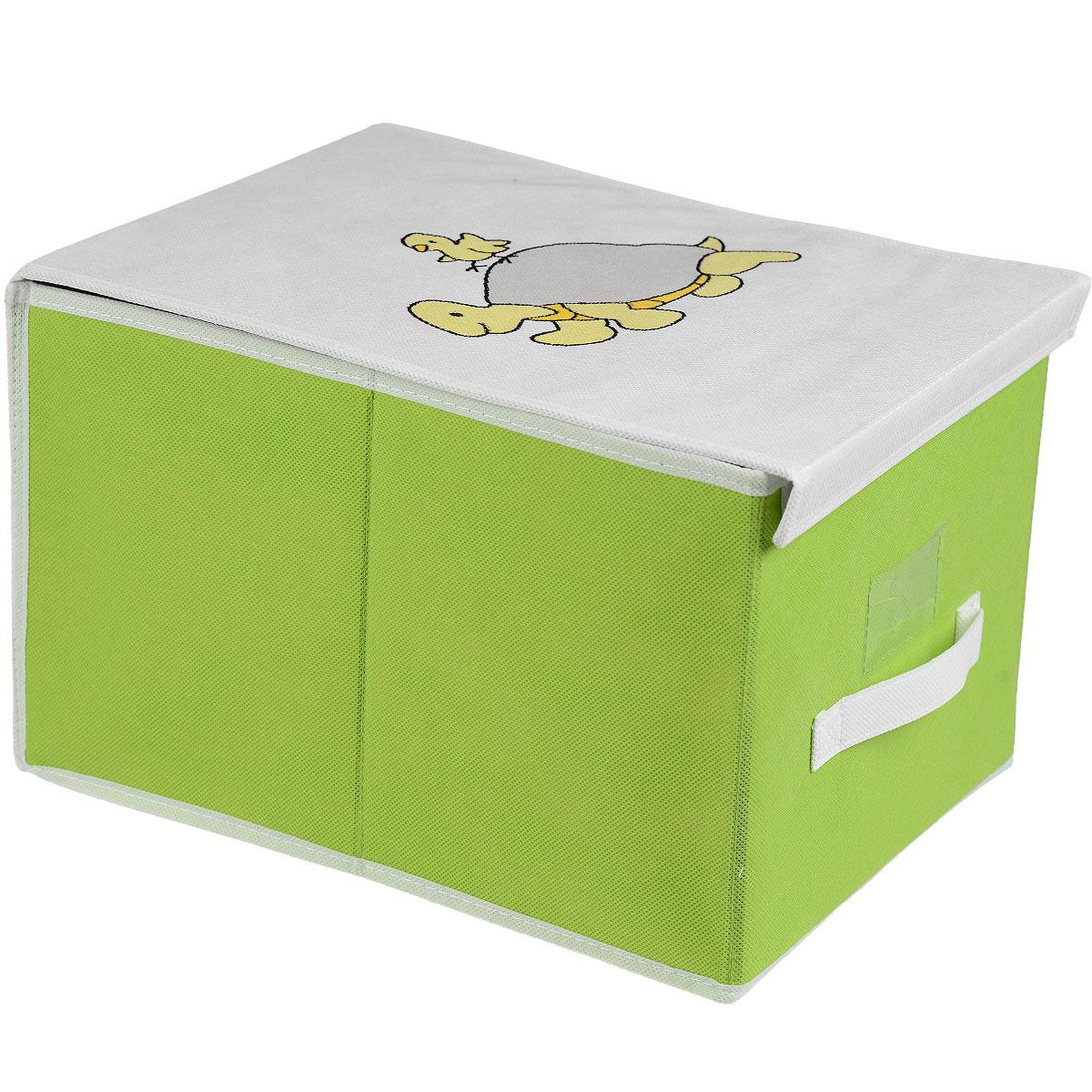 Чехол для хранения Voila Baby, цвет: салатовый, 30 х 40 х 25 см3330Чехол Voila Baby выполнен из дышащего нетканого материала (полипропилен), безопасного в использовании. Изделие предназначено для хранения вещей. Он защитит вещи от повреждений, пыли, влаги и загрязнений во время хранения и транспортировки. Чехол идеально подходит для хранения детских вещей и игрушек. Жесткий каркас из плотного толстого картона, обеспечивает устойчивость конструкции. Изделие оформлено красочным изображением. Закрывается на липучки.