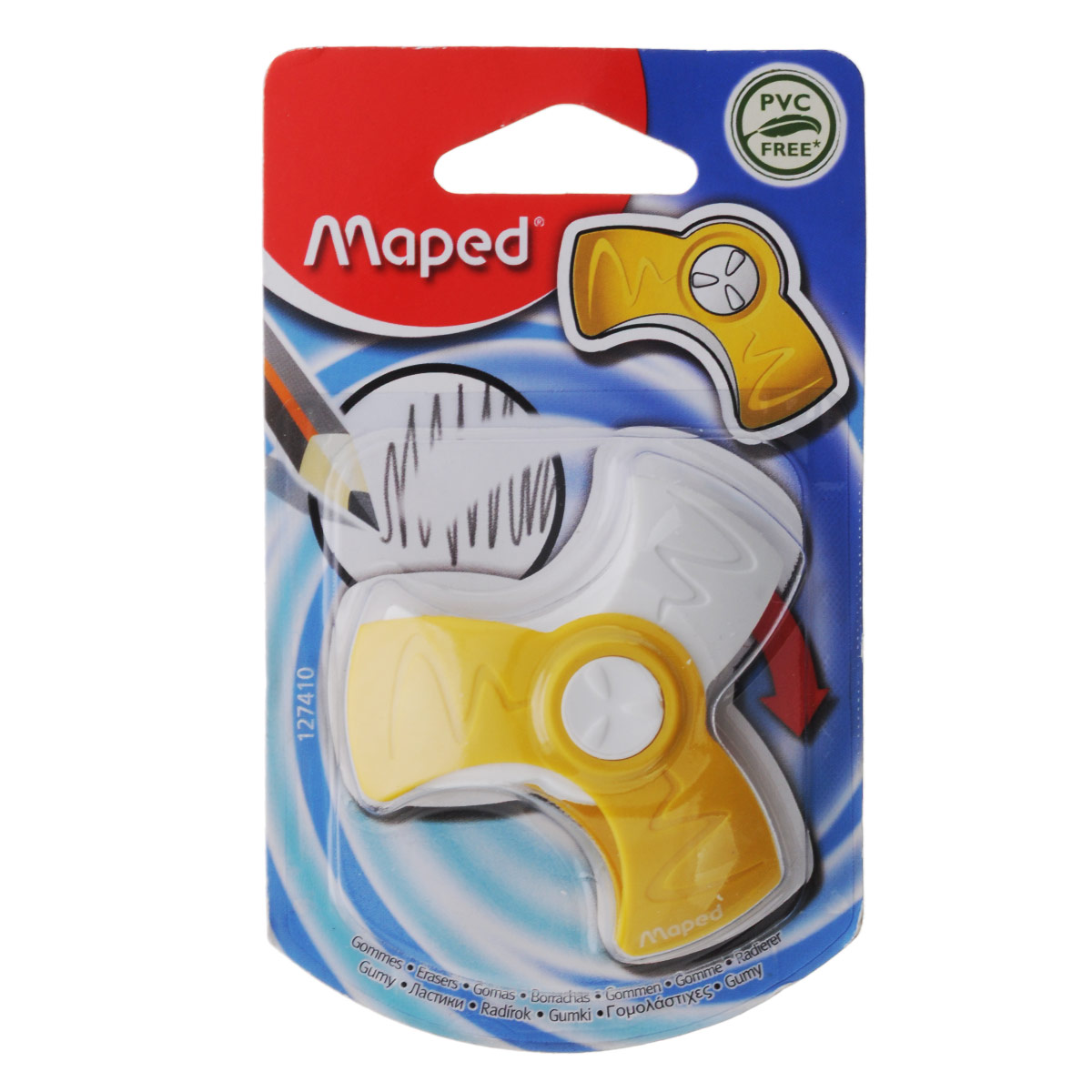 Ластик Maped Spin, цвет: желтый72523WDОригинальный ластик Spin в поворотном защитном футляре из пластика легко удаляет следы чернографитных карандашей, а футляр защищает ластик от загрязнений и увеличивает его срок службы. Не содержит ПВХ.