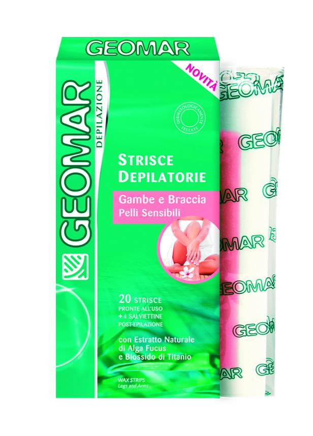 Geomar Готовые восковые полоски для удаления волос на ногах и руках для чувствительной кожи 20 шт - Женские средства для депиляции и бритья