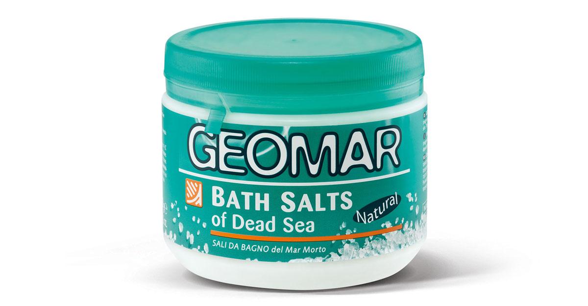 Geomar Соль мертвого моря для принятия ваннУТ000001566Формула морской соли для ванн содержит природные компоненты (магний, калий, натрий, кальций, бром, сера), которые глубоко очищают кожу. Соль предназначена для лечения дефектов кожи, связанных с целлюлитом.