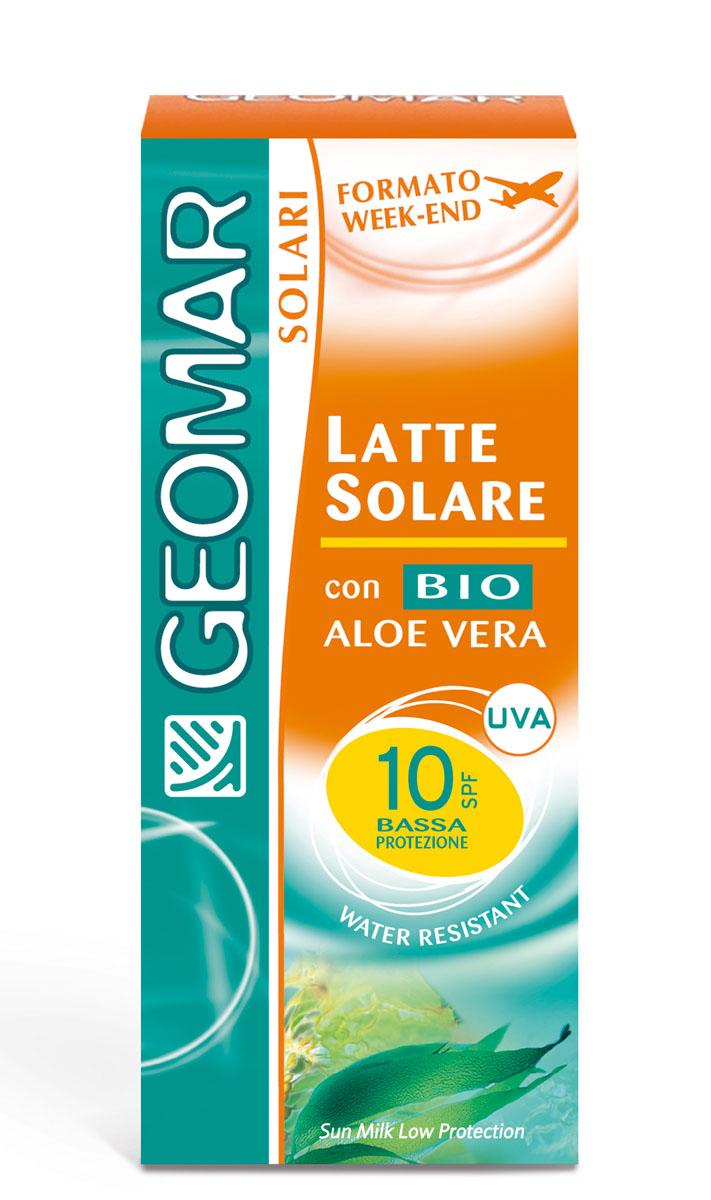 Geomar Молочко солнцезащитное Solari Bio с уровнем защиты SPF 10 75млFS-00103Идеально для смуглой или уже загорелой кожи. Помогает защитить кожу от вредного воздействия UVA и UVB лучей и предотвращает преждевременное старение кожи. Содержит органическое алое вера с увлажняющим и смягчающим свойствами. Его нежирная легкая текстура быстро впитывается и не оставляет белых следов. После нанесения кожа лица становится увлажненной и мягкой. Водоотталкивающий.